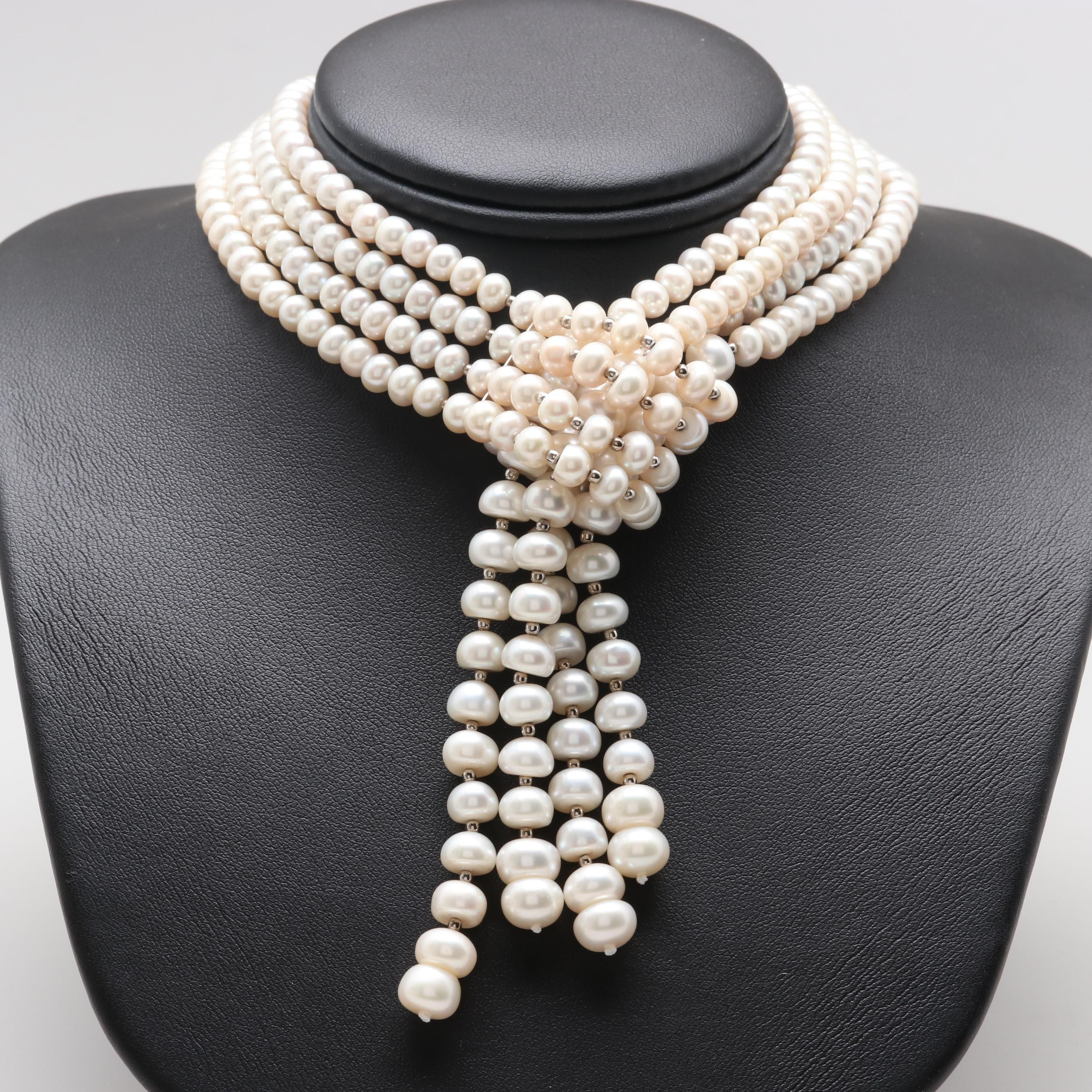 Sterling Silver Cultured Pearl Tassel Necklace