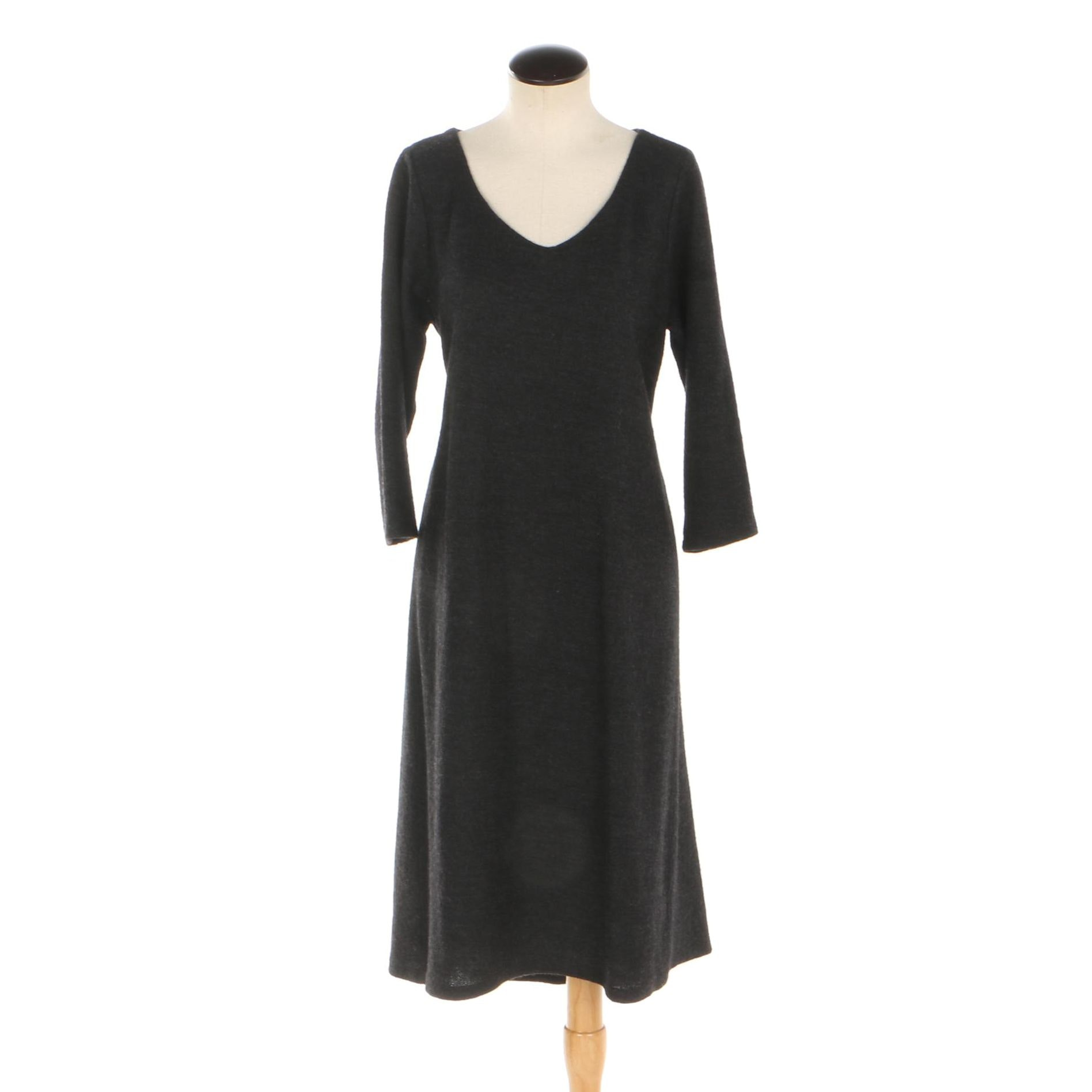 Eileen Fisher Heather Black Wool Shift Dress