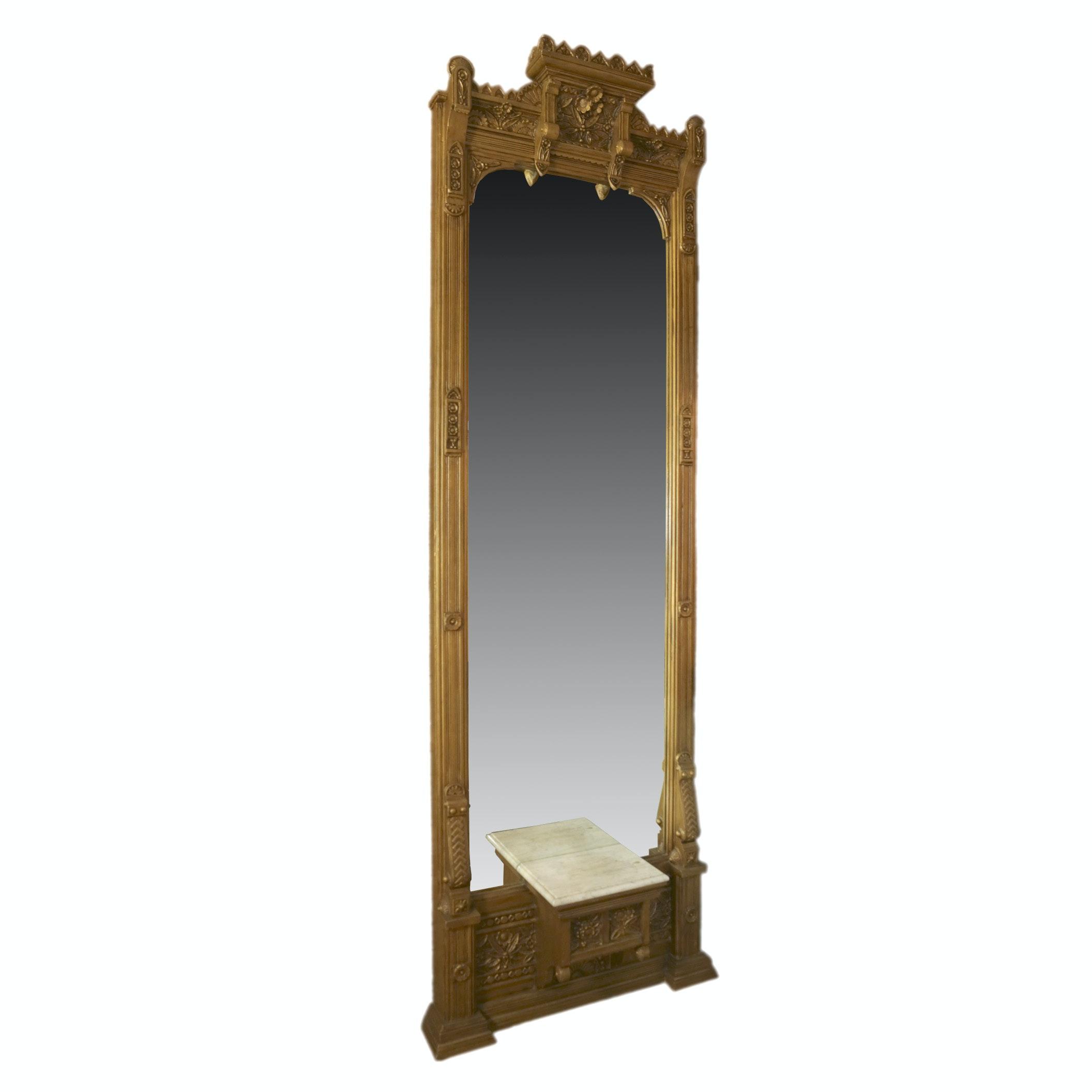 Victorian Pier Mirror with Marble Shelf