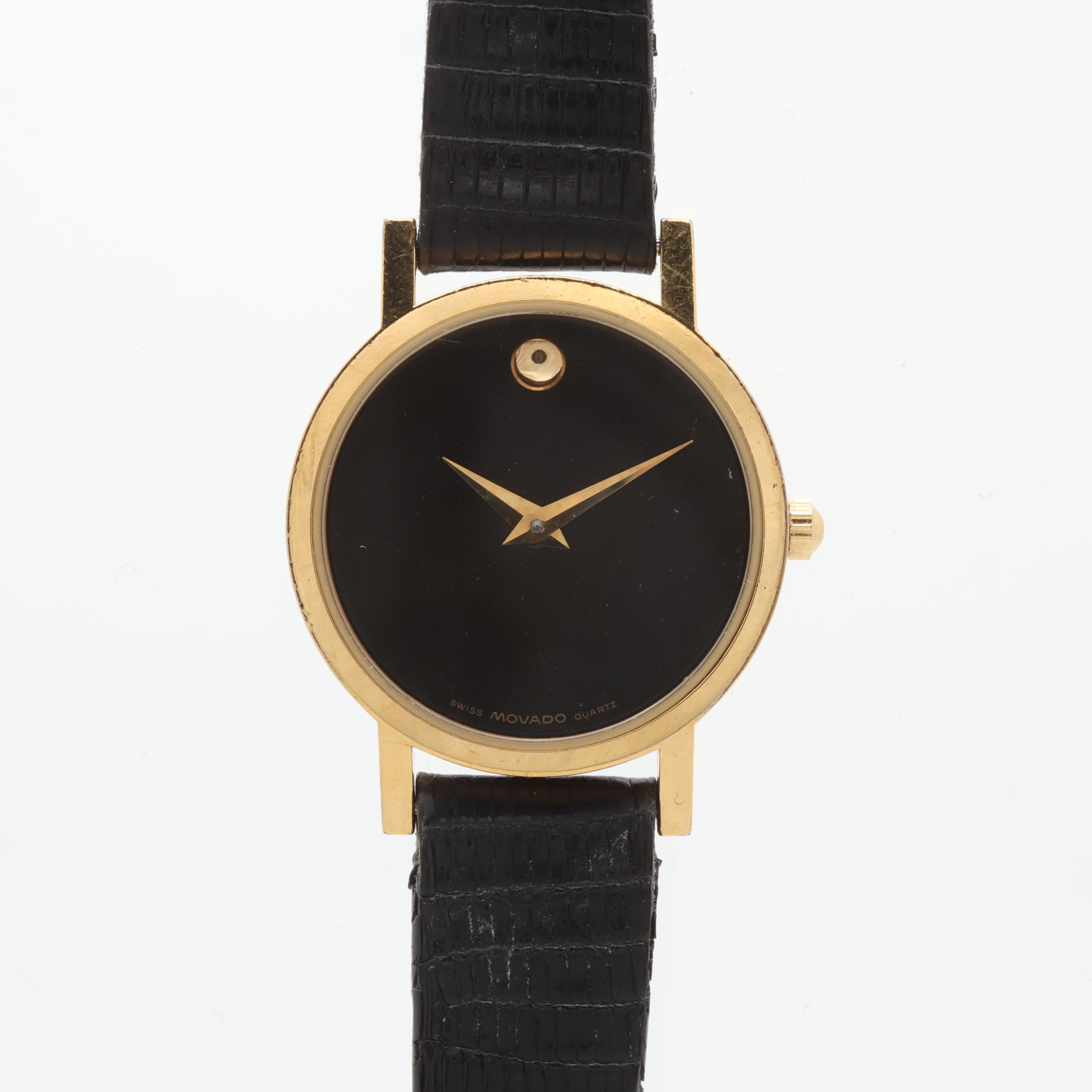 Movado Gold Tone and Stainless Steel Black Dial Wristwatch