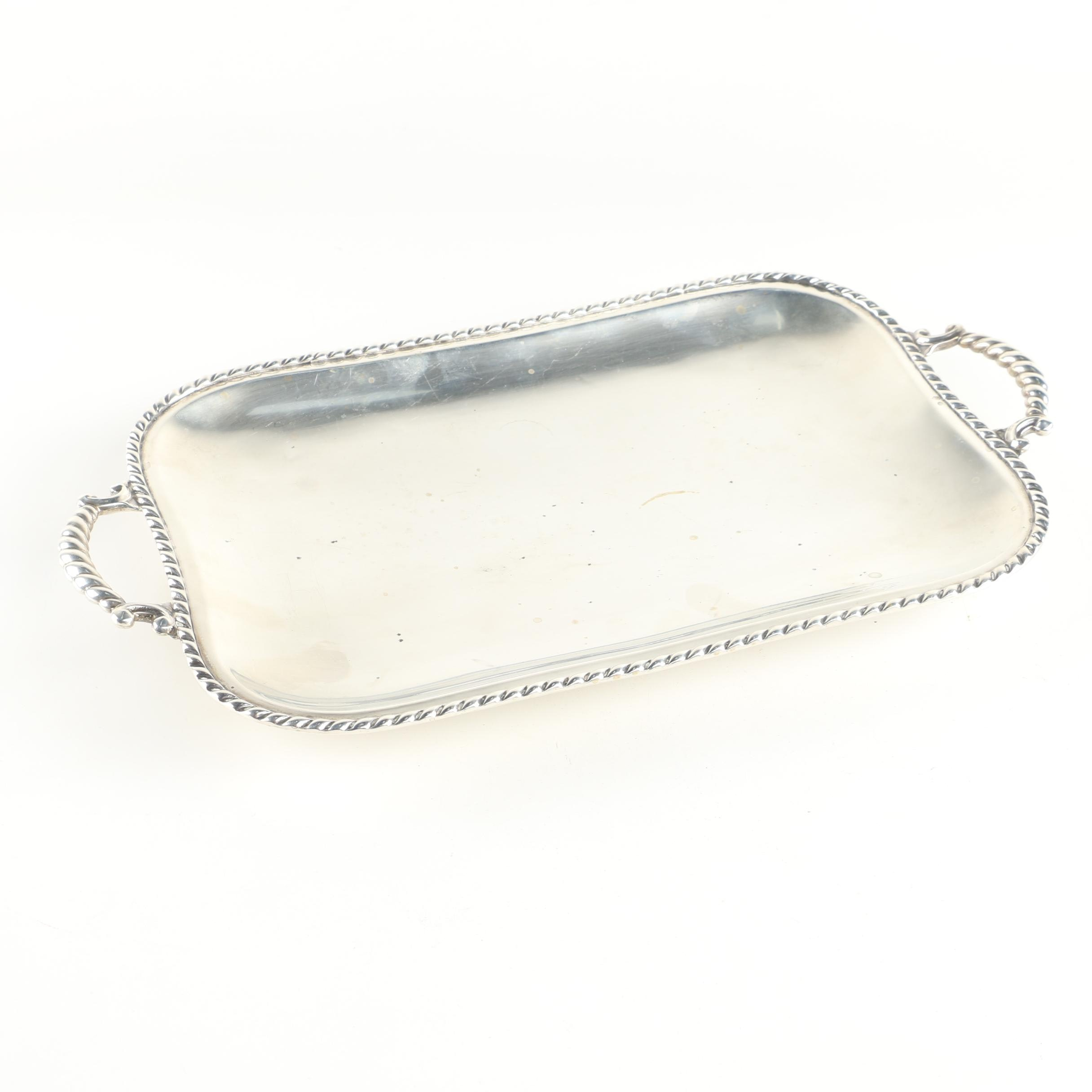 Alfredo Montejo Spanish 915 Silver Serving Tray with Gadrooning Trim