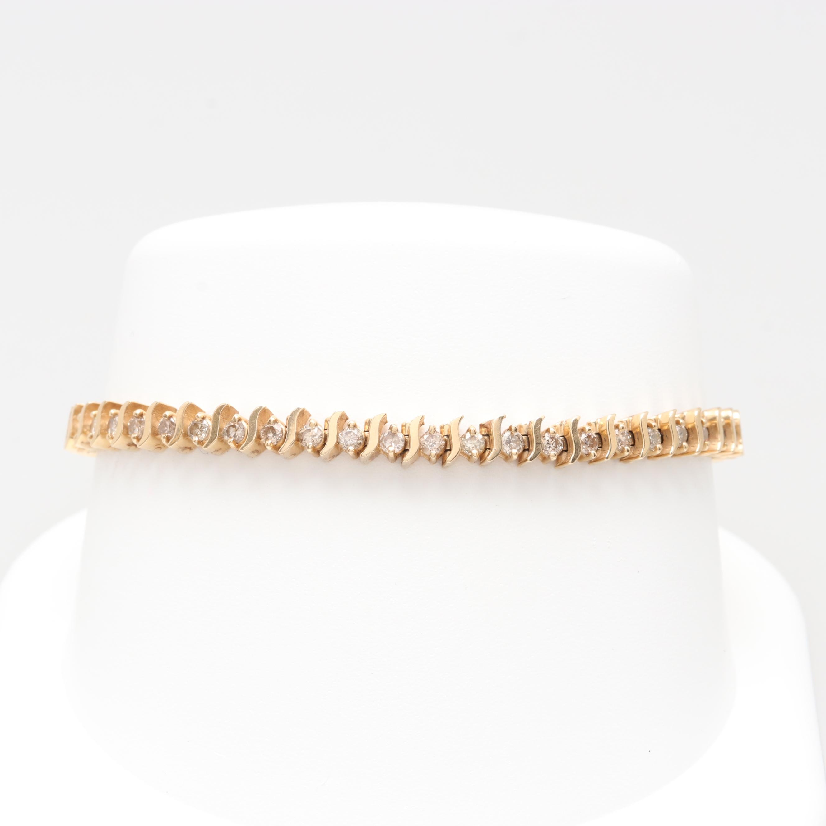 14K Yellow Gold 1.96 CTW Diamond Bracelet