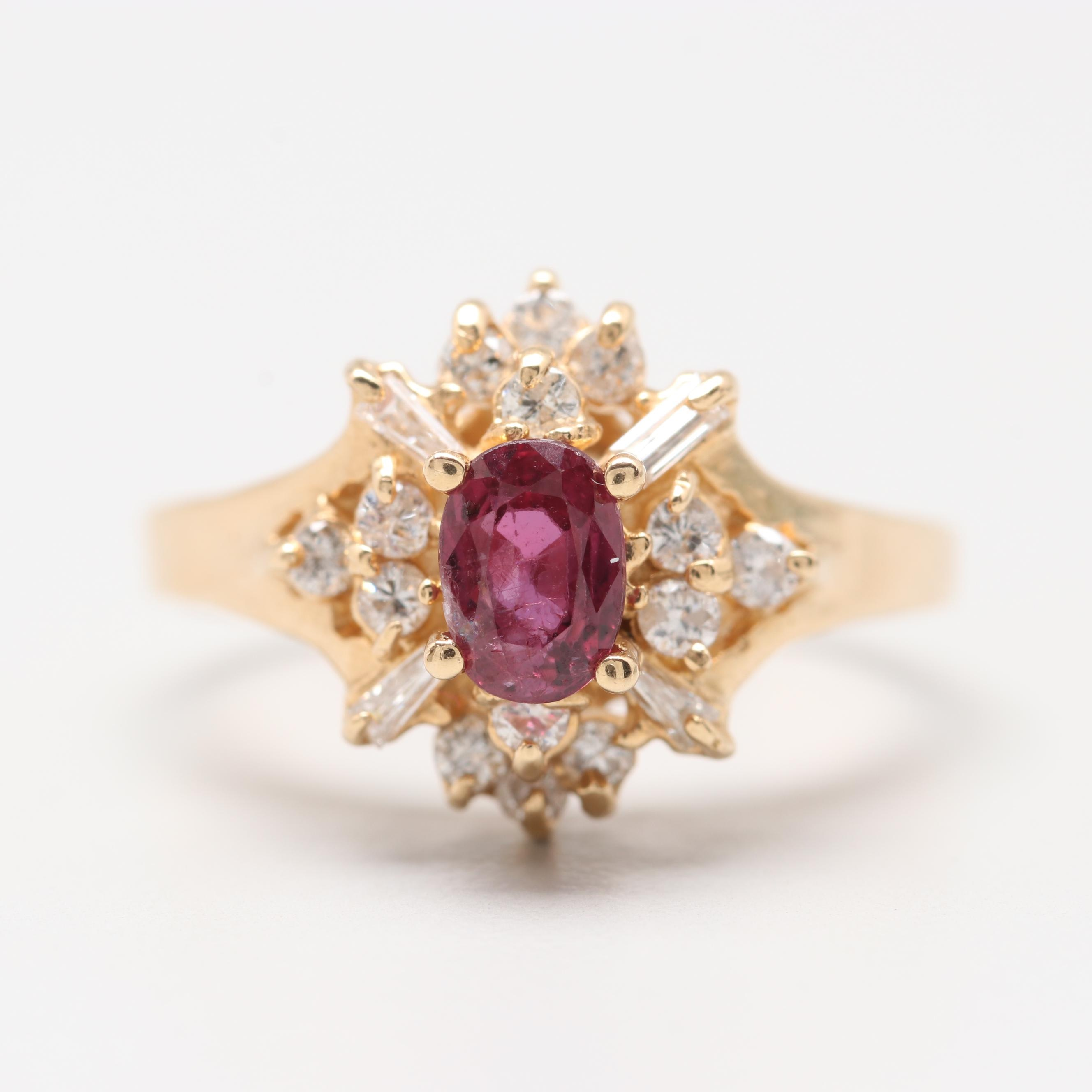 14K Yellow Gold Untreated Ruby and Diamond Ring