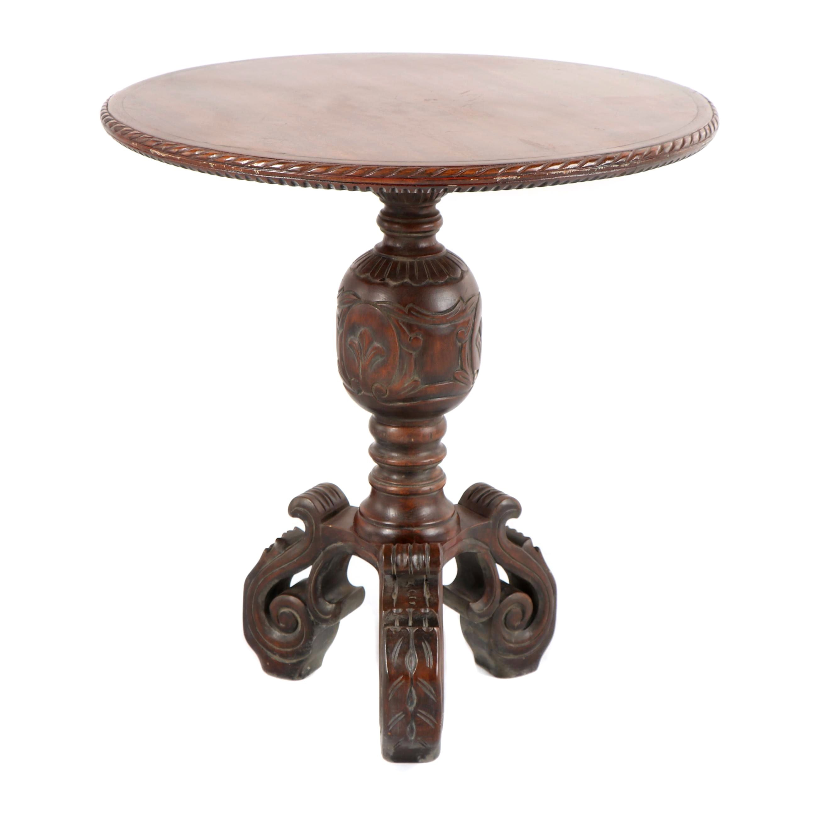Pedestal Accent Table With Carved Feet ...