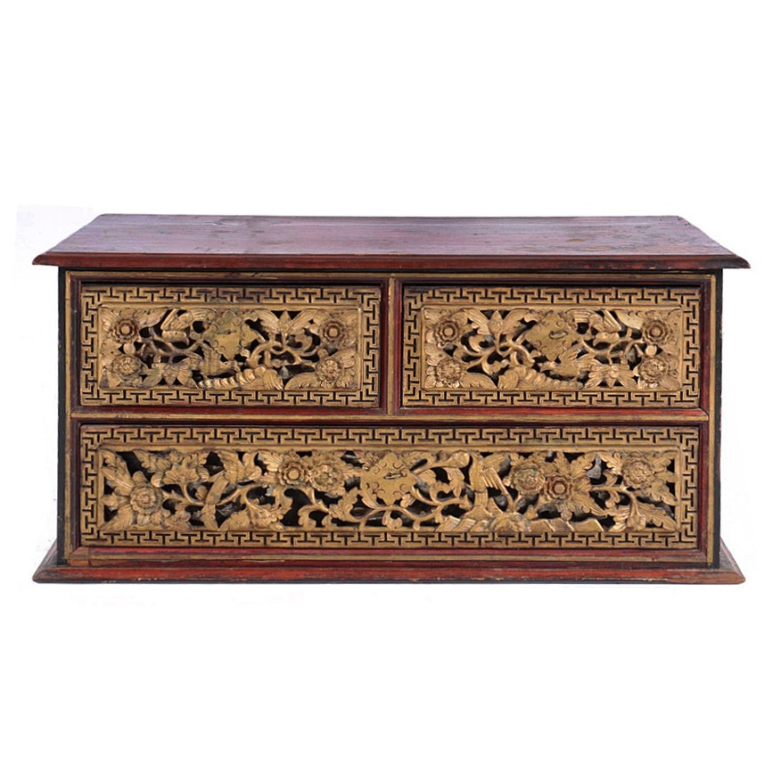 Chinese Qing Dynasty Parcel-Gilt and Painted Three-Drawer Chest, 19th Century