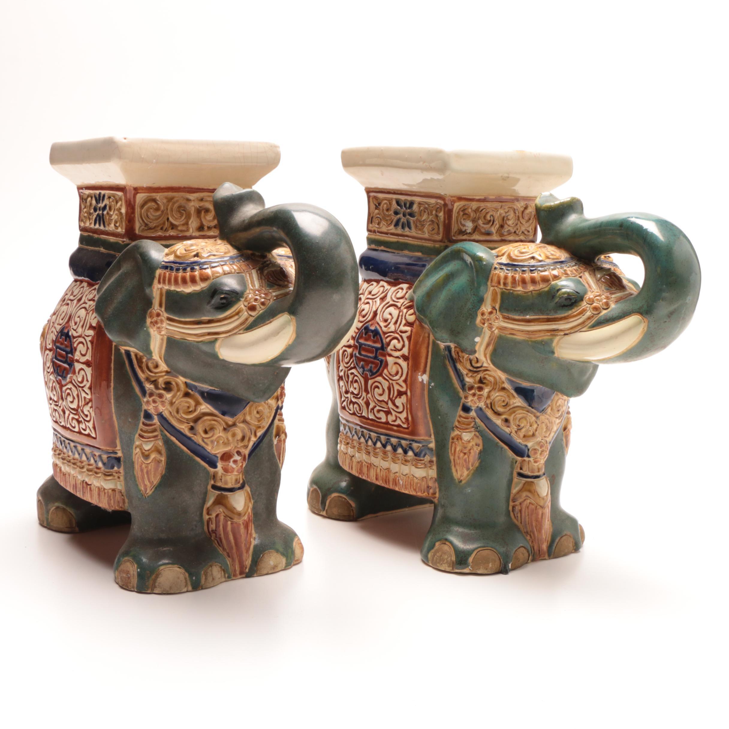 Chinese Elephant Shaped Ceramic Jars
