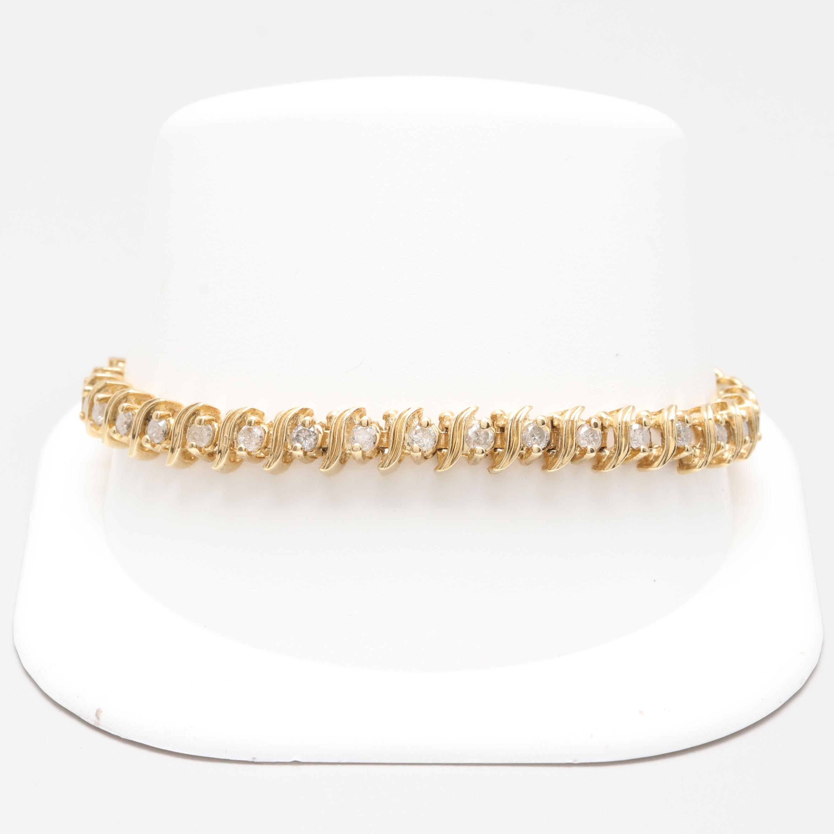 14K Yellow Gold 2.52 CTW Diamond Tennis Bracelet