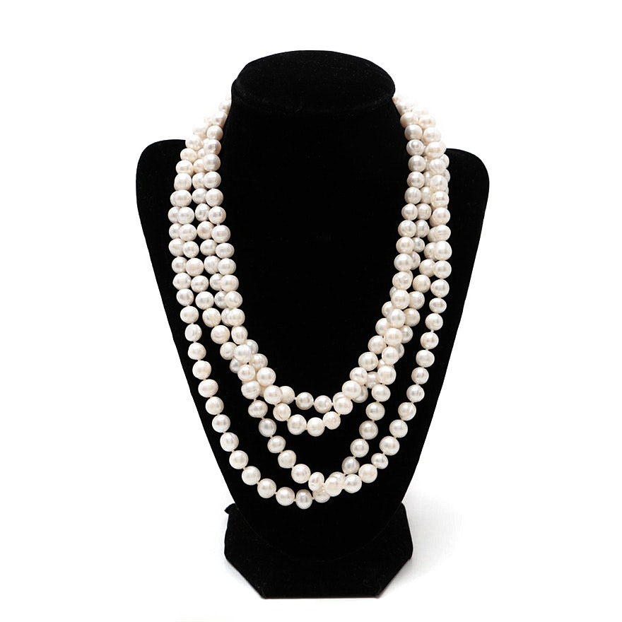 Single Strand Cultured Pearl Rope Length Necklace