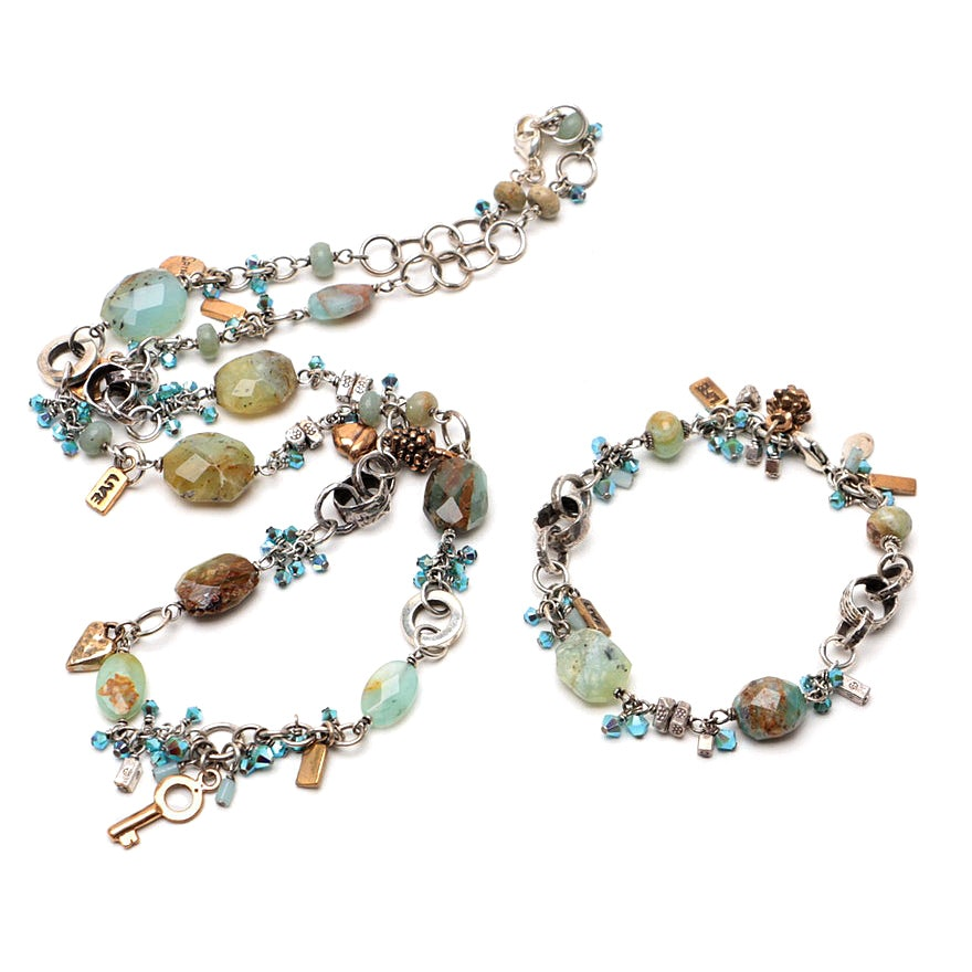 Linda Thelin Designed Sterling Silver and Common Opal Necklace & Bracelet