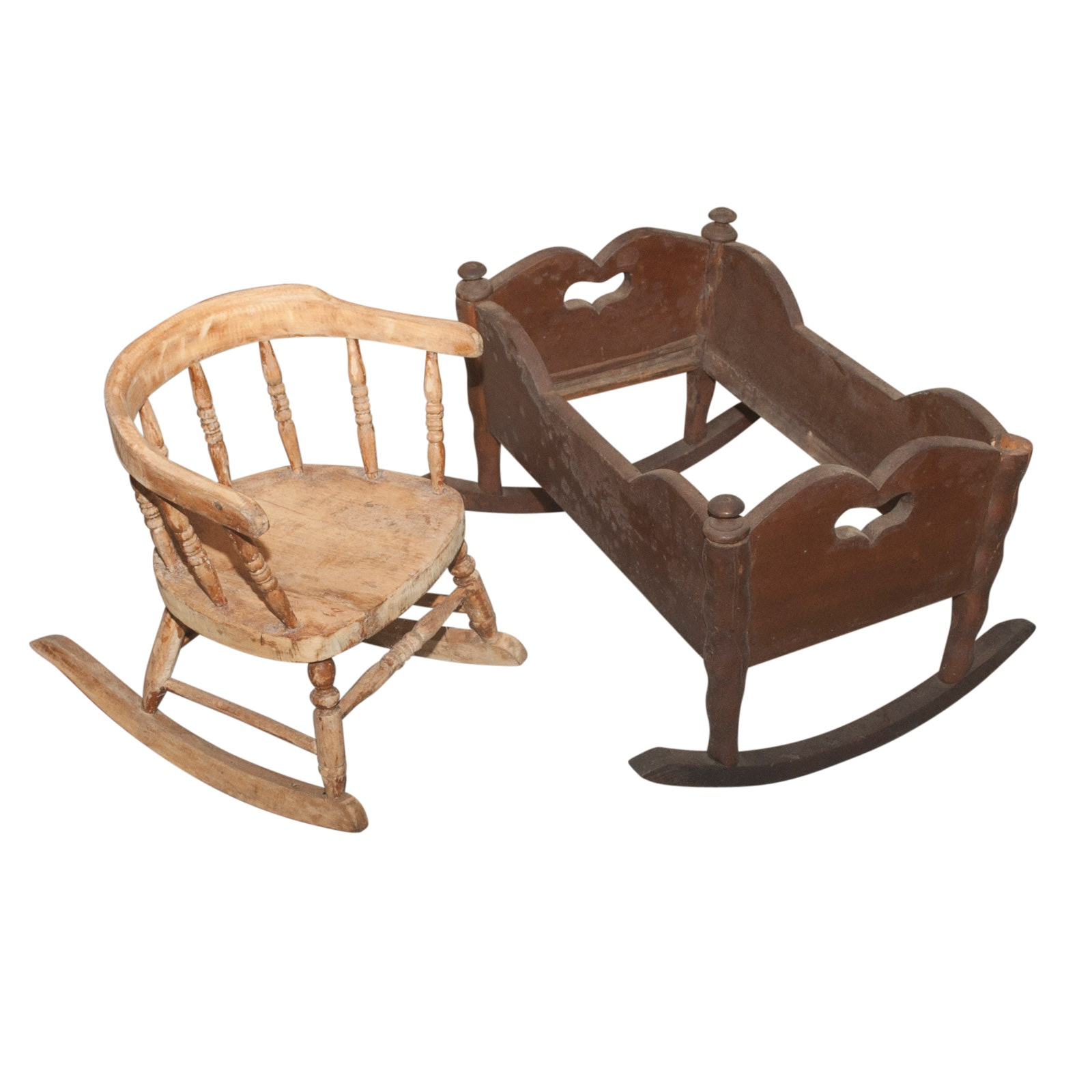 Doll Cradle and Child's Rocking Chair, Early 20th Century