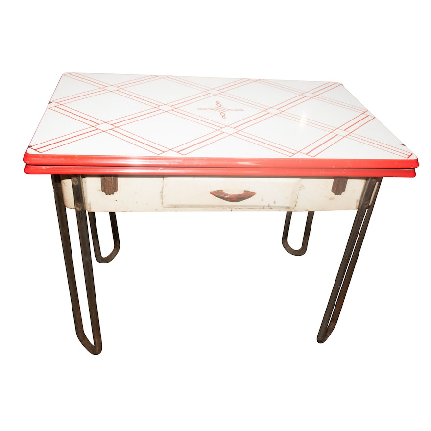 Enameled Top Kitchen Table, Mid-20th Century