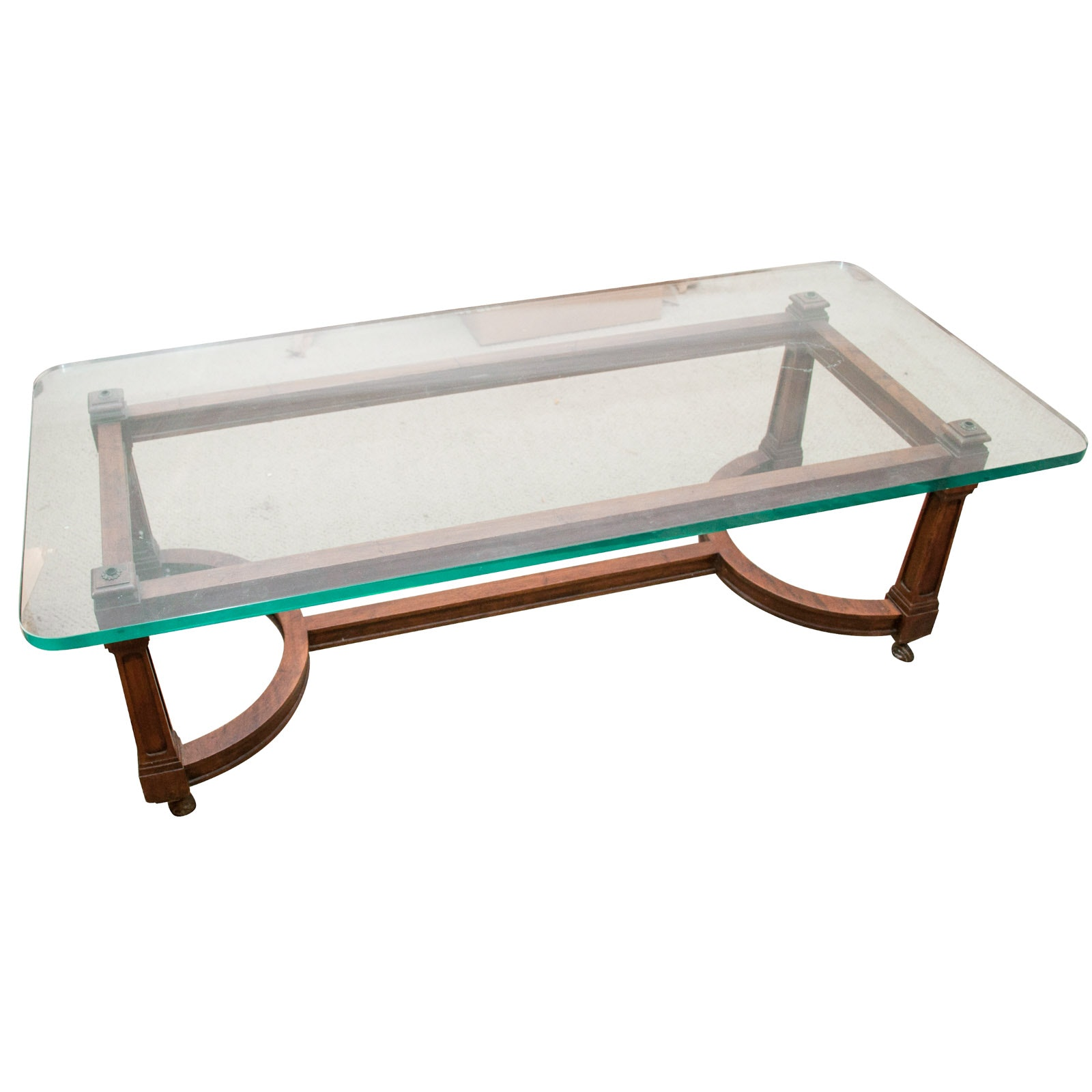 Mahogany Glass Topped Coffee Table, Mid to Late 20th Century