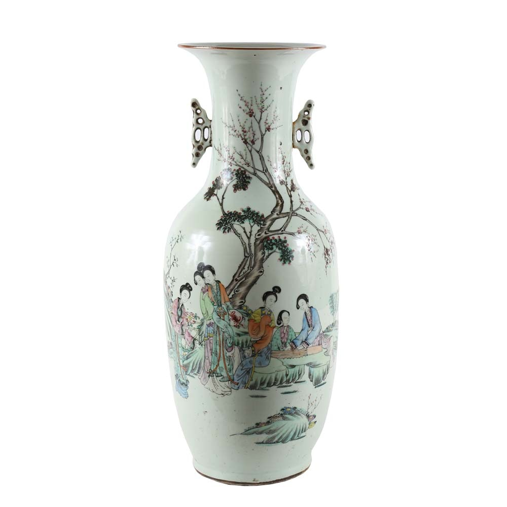 Antique Chinese Hand Painted Floor Vase