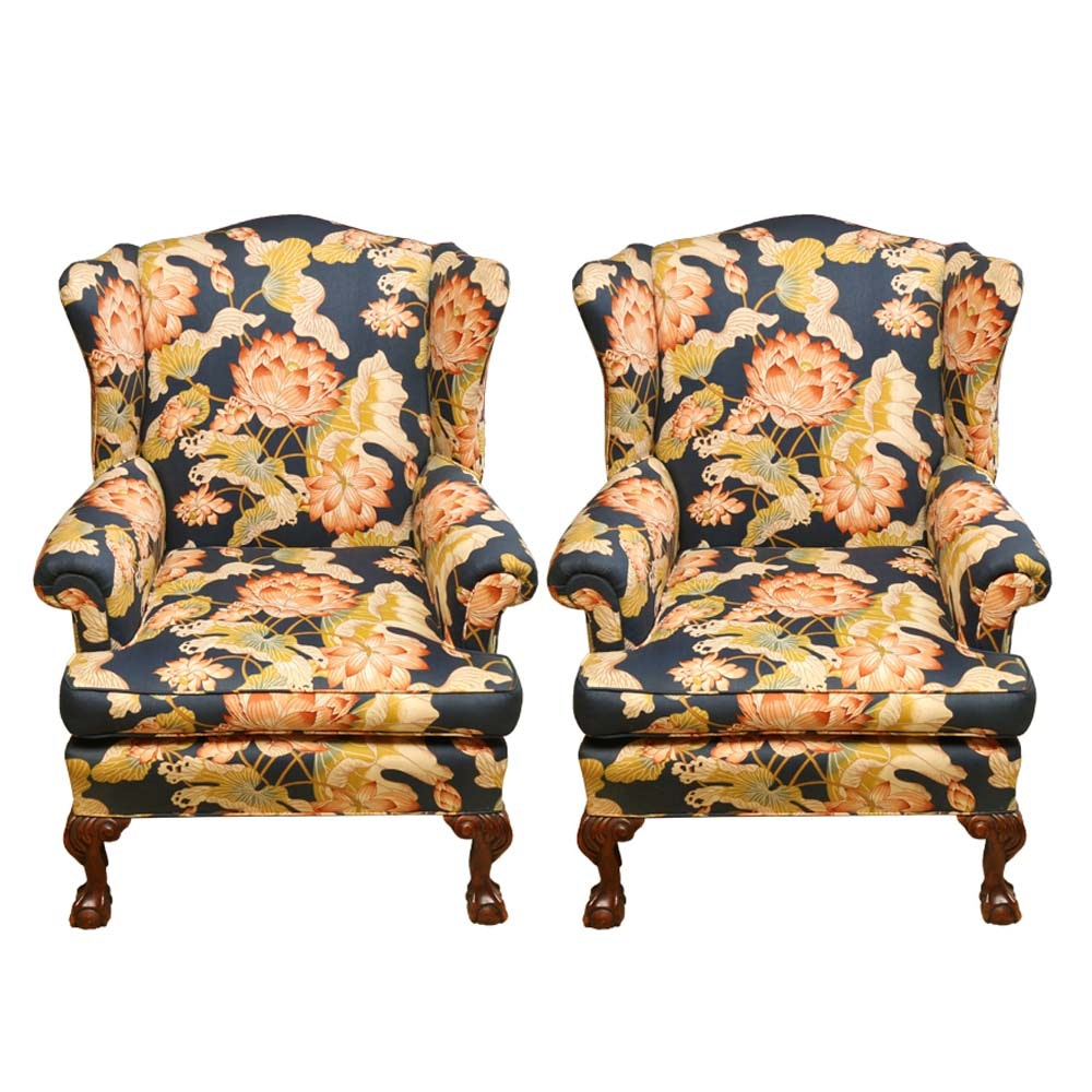 Chippendale Style Floral Wingback Chairs