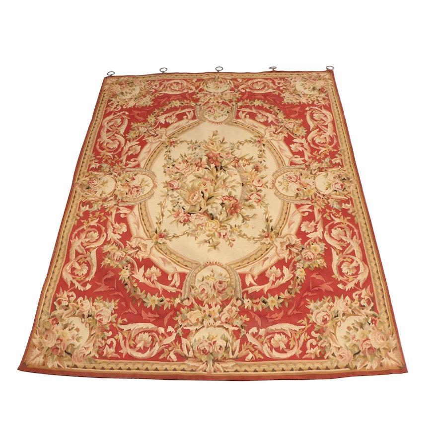 Persian Style Wool Area Rug Ebth: Needlepoint Aubusson-Style Wool Area Rug With Hanging