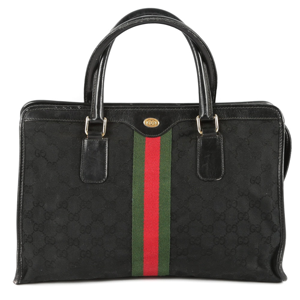 "Vintage Gucci Accessory Collection ""GG"" Canvas and Leather Top Handle Bag"