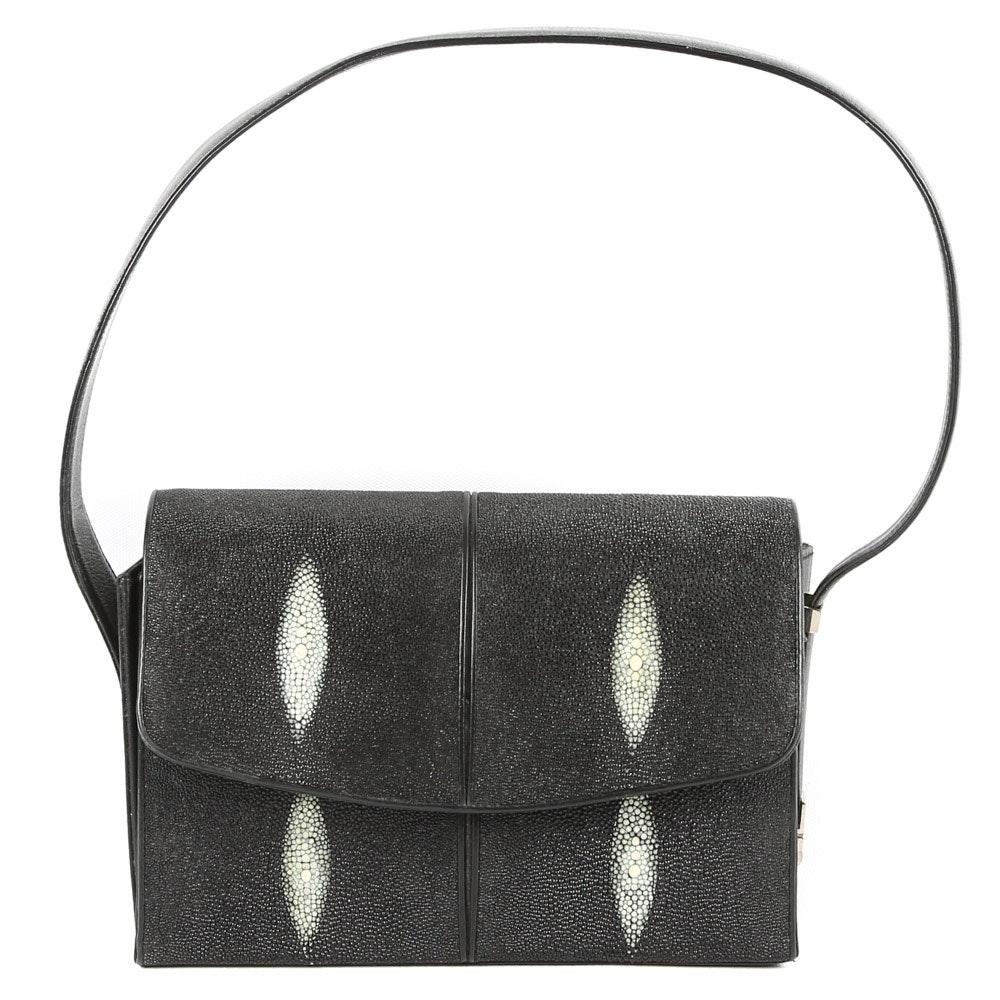 Vintage Genuine Stingray Skin Structured Handbag