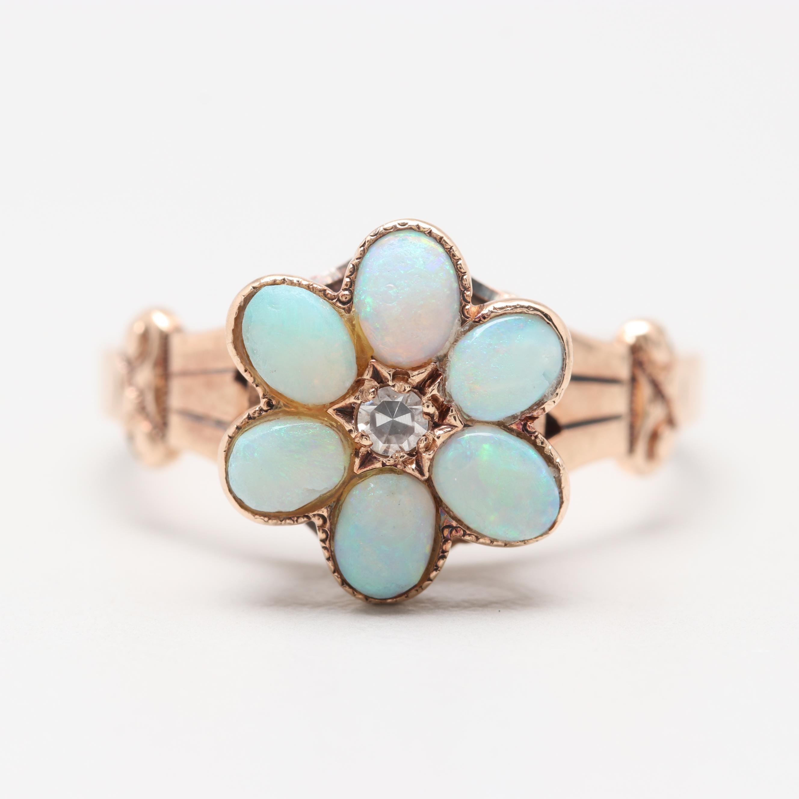 Victorian 14K Rose Gold Diamond and Opal Flower Ring
