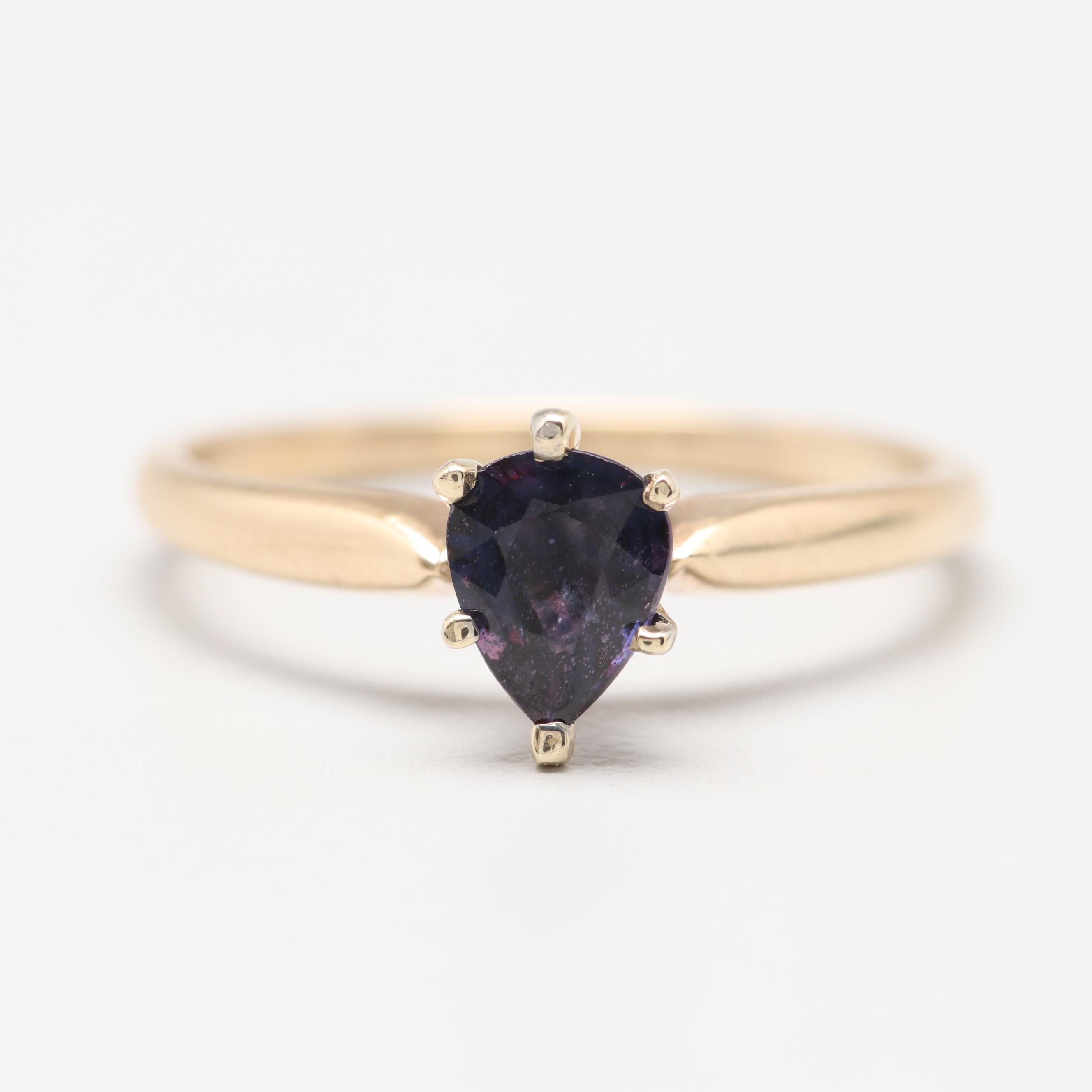 14K Yellow Gold Purple Sapphire Solitaire Ring
