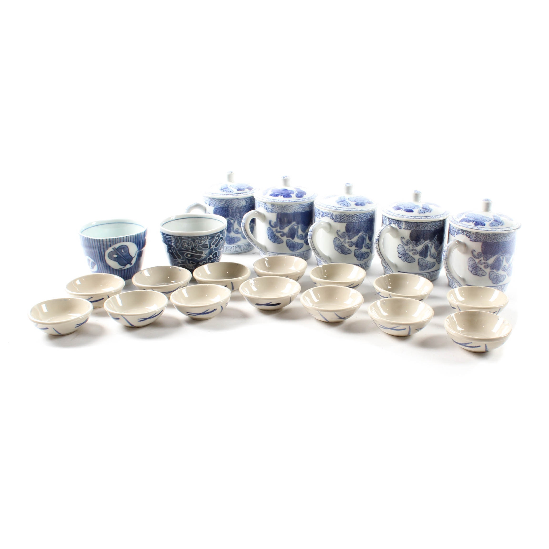 Chinese Blue on White Ceramic Ginger Jars and Cups