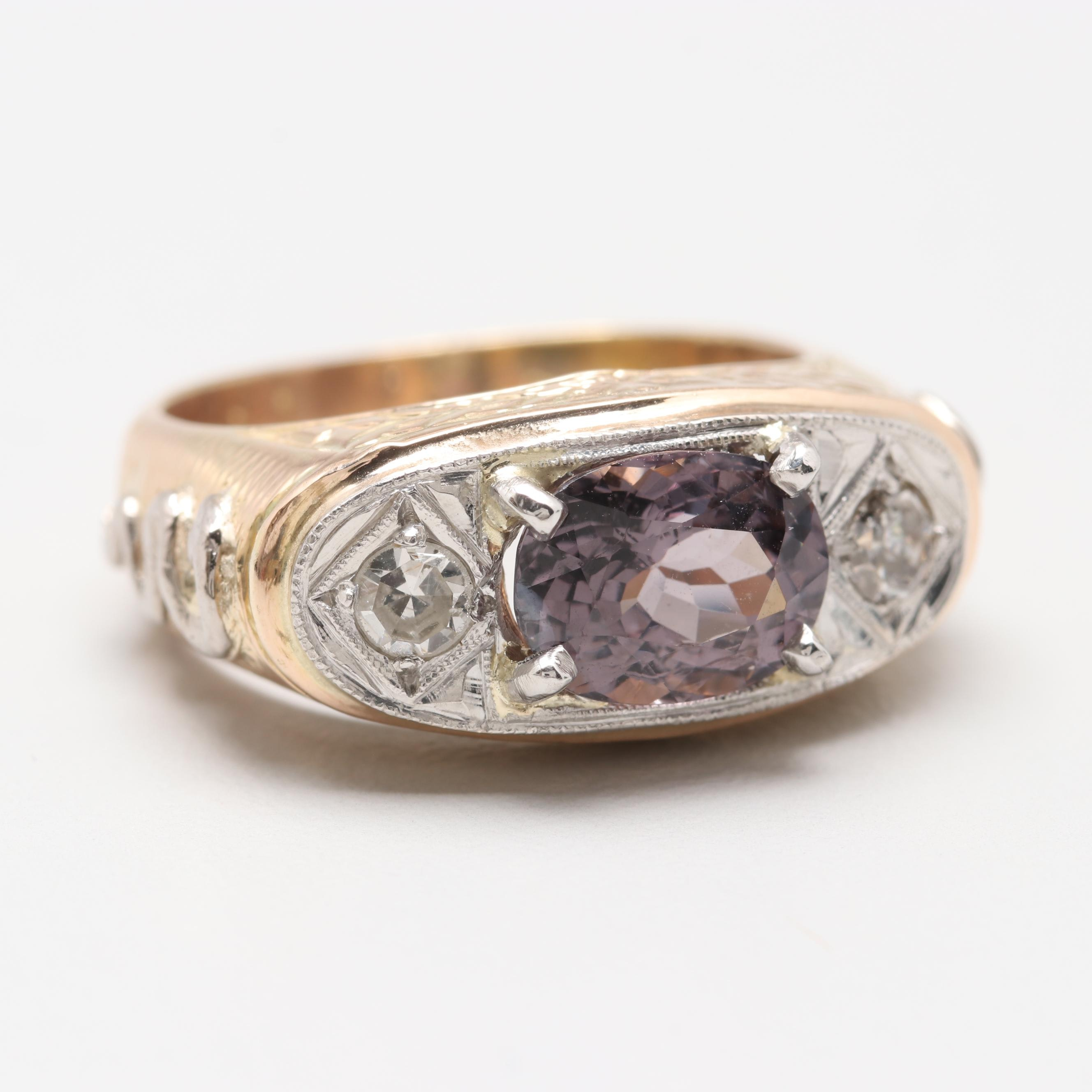 14K Yellow Gold Platinum 2.00 CT Spinel and Diamond Ring
