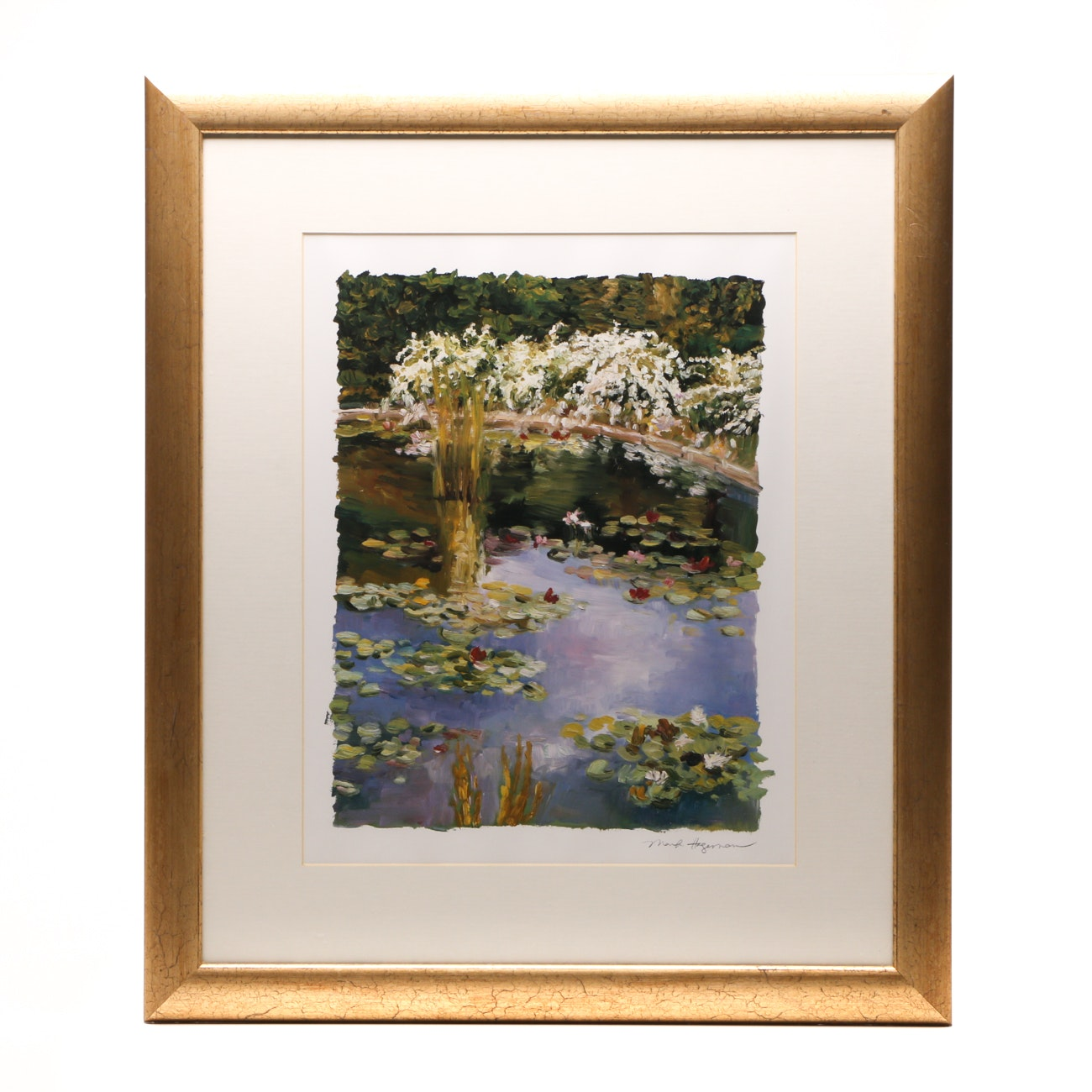 Offset Lithograph Print after Marily Hageman of Water Lilies