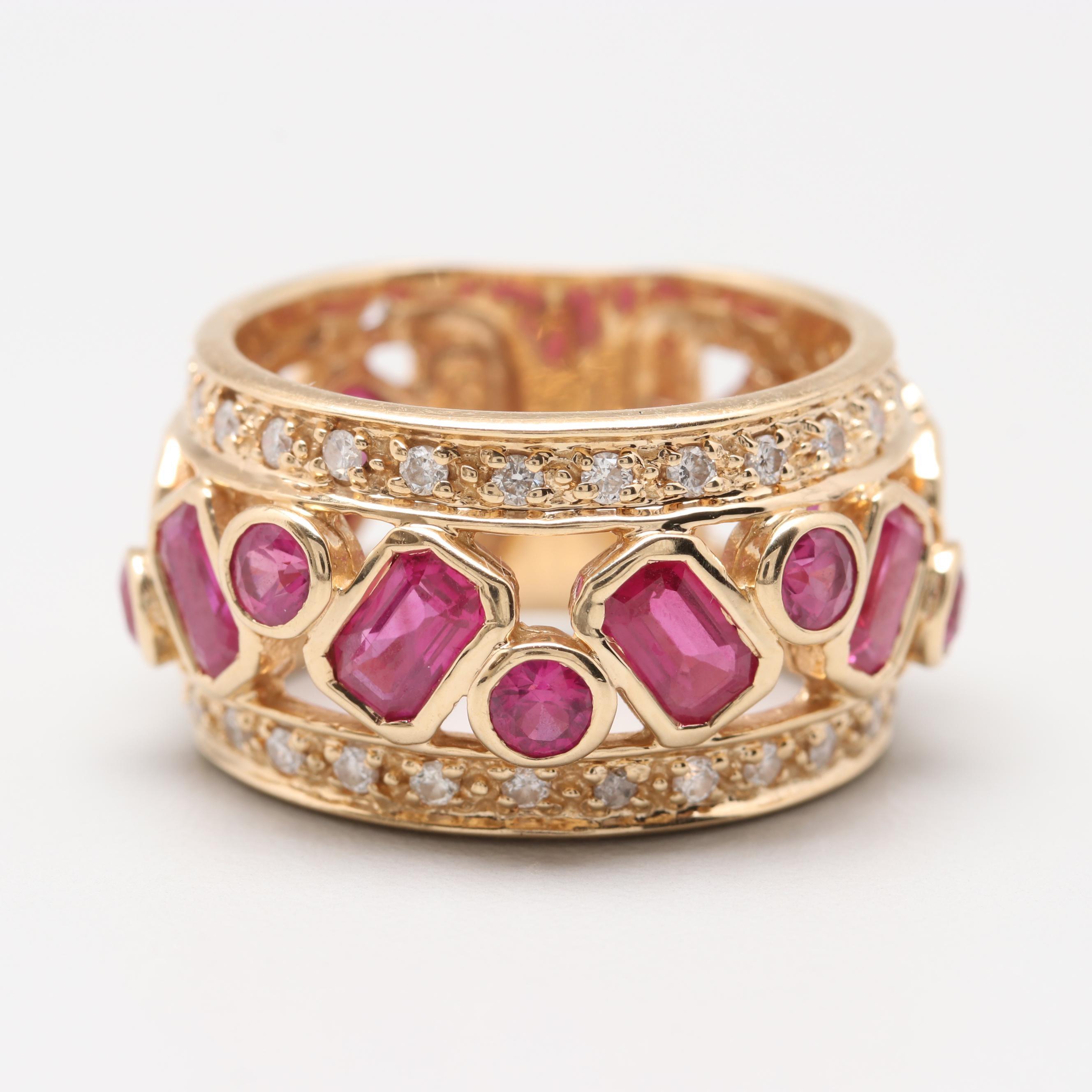 Sonia B. 14K Yellow Gold Ruby and Diamond Ring