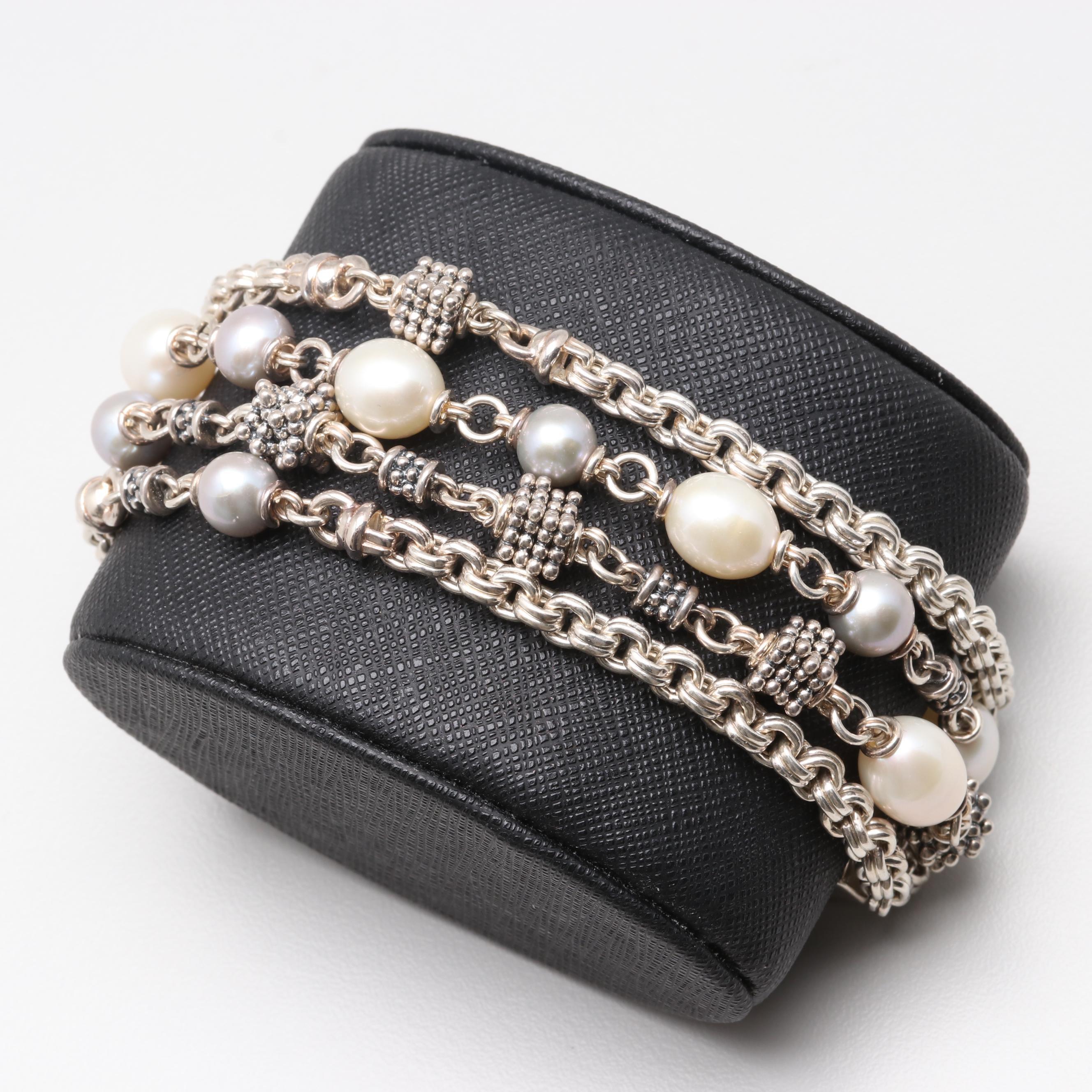 Michael Dawkins Sterling Silver Cultured Pearl Multi Strand Bracelet