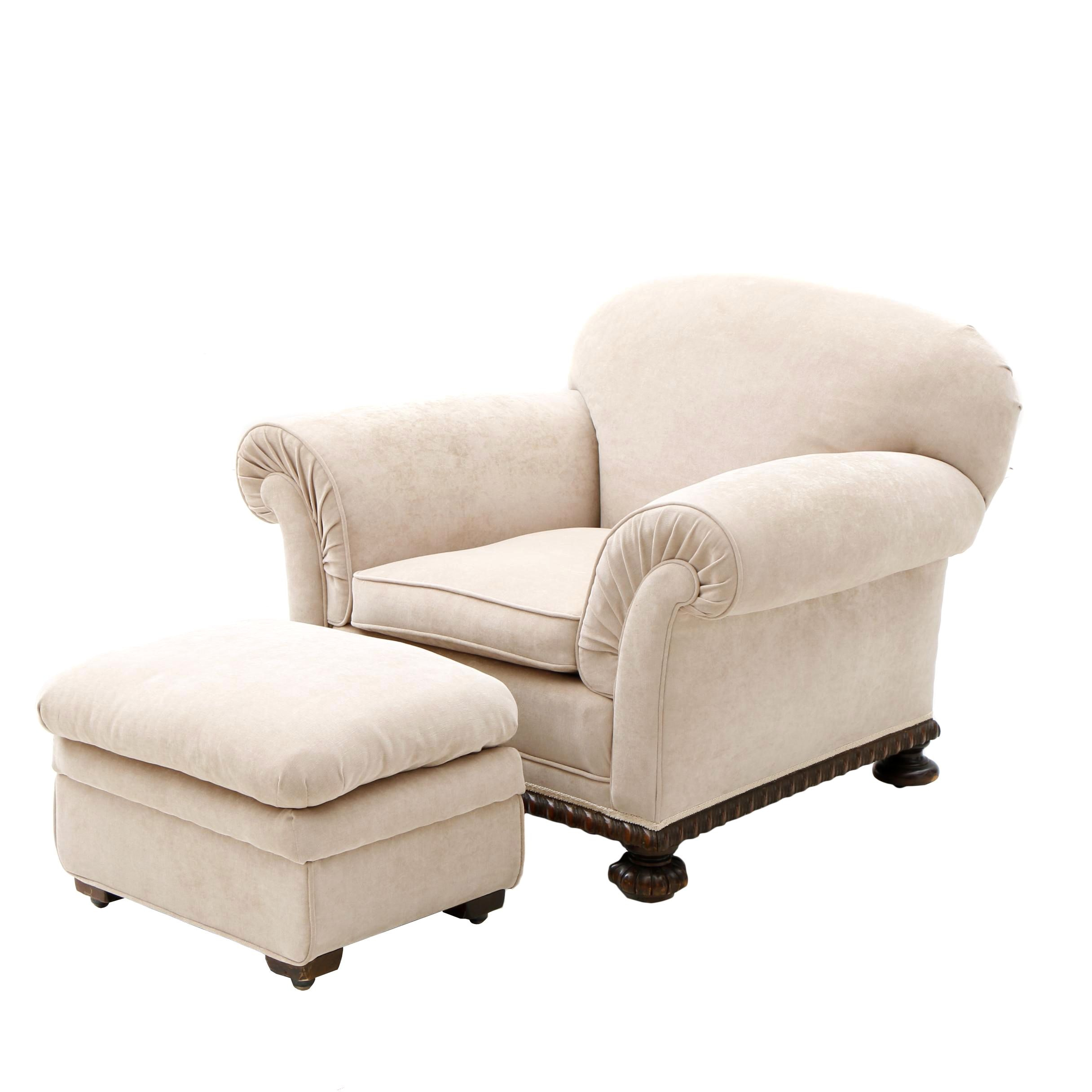 Beige Upholstered Armchair with Ottoman