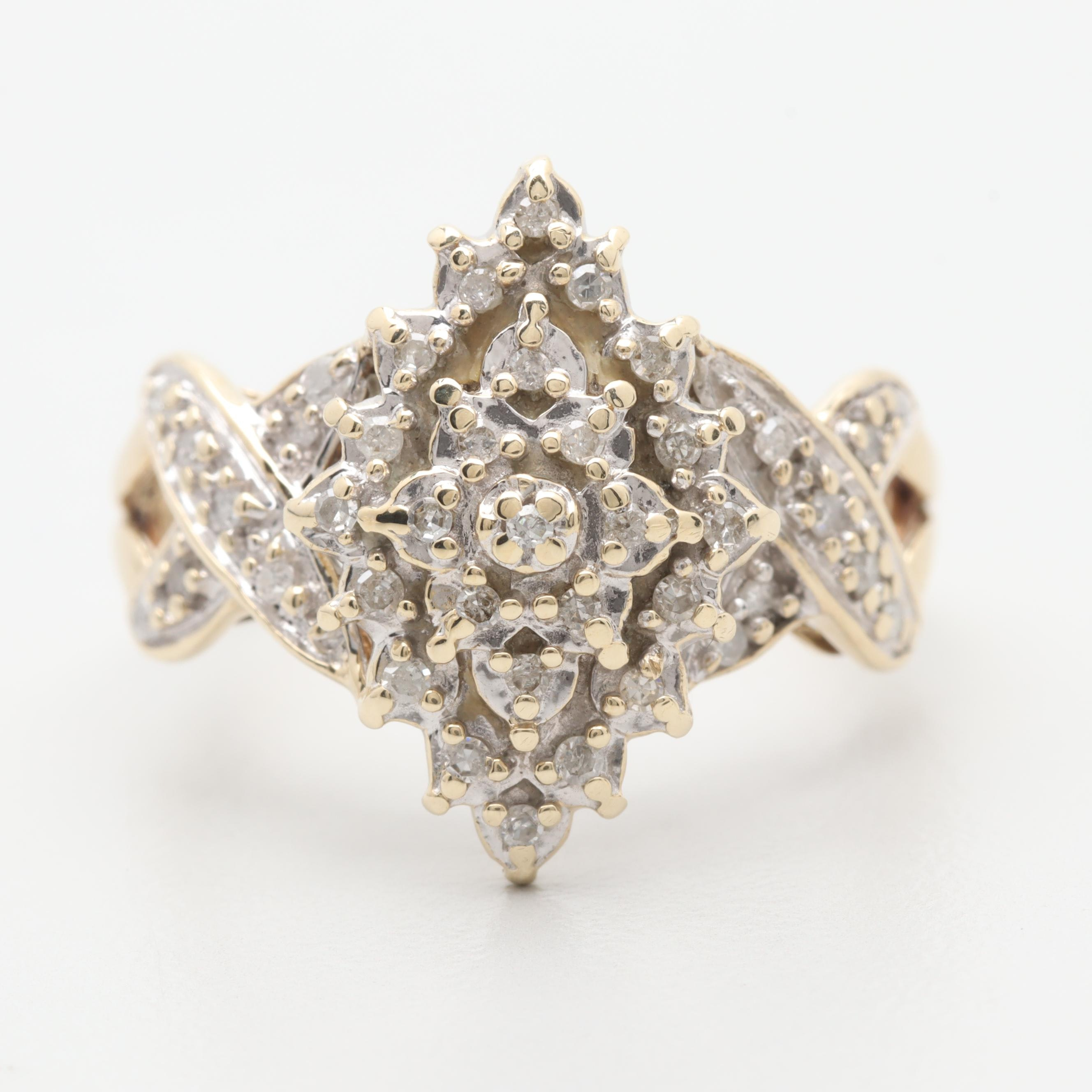 10K Yellow Gold Diamond Ring With White Gold Accents
