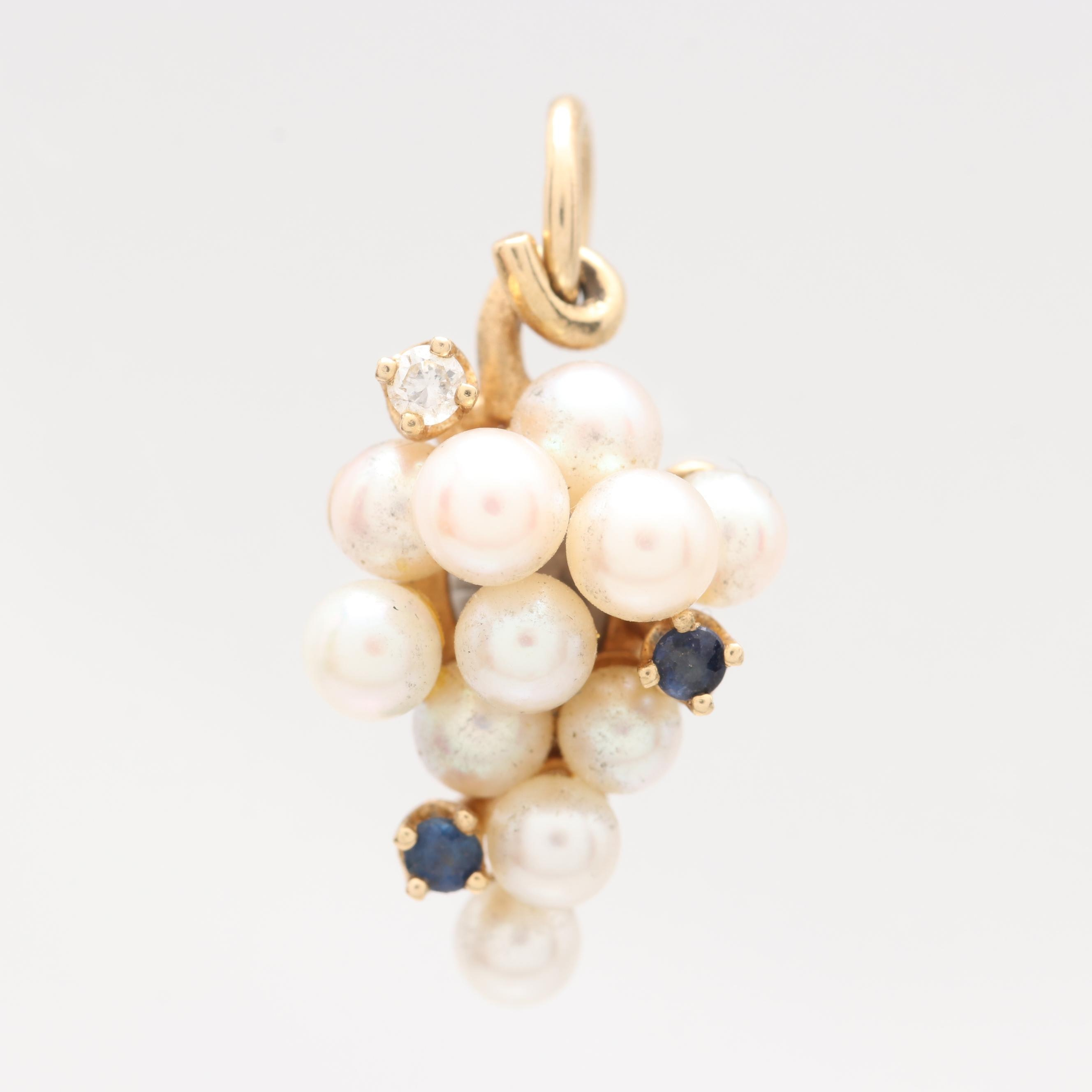 14K Gold Cultured Pearl, Blue Sapphire and Diamond Pendant