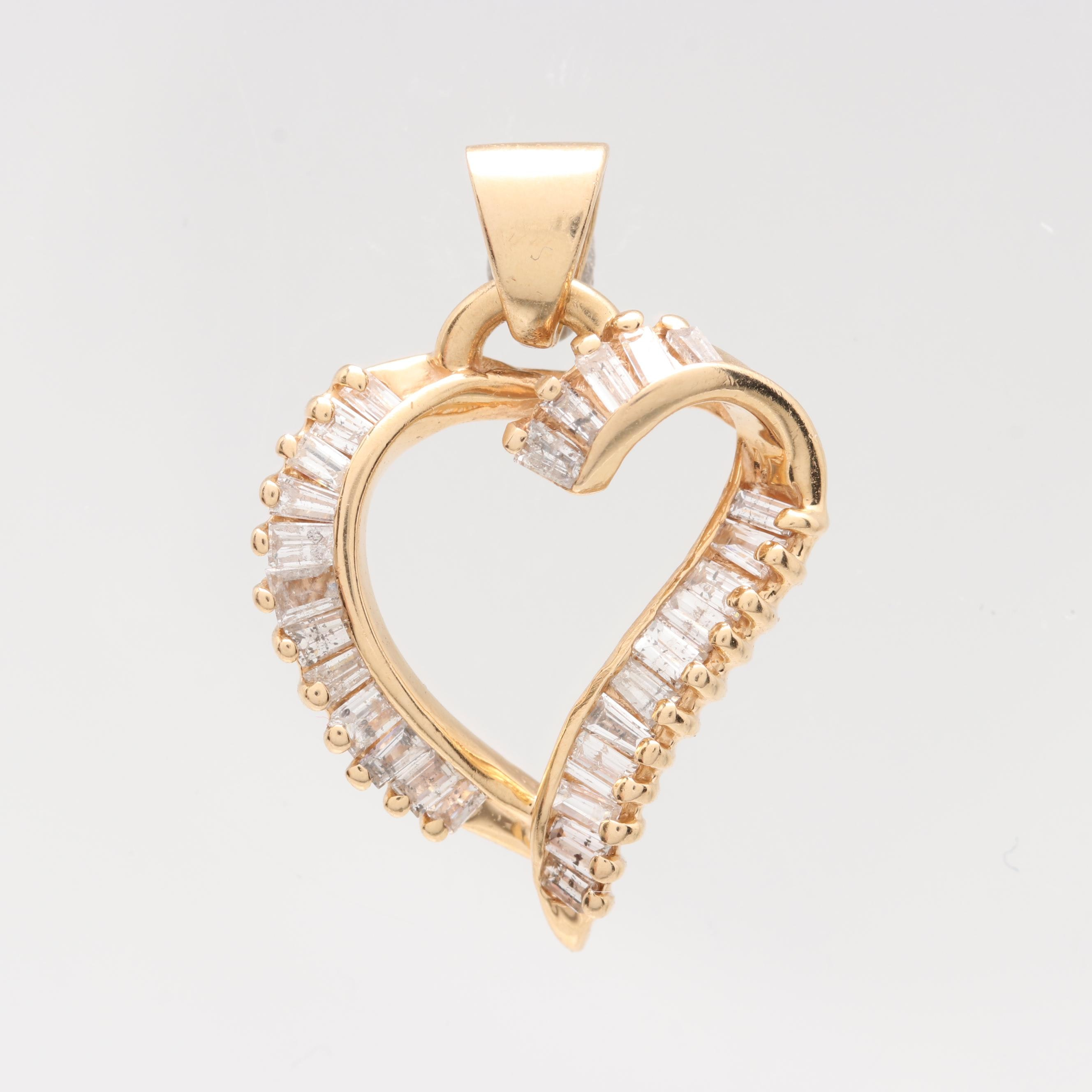 14K Yellow Gold Diamond Open Heart Pendant