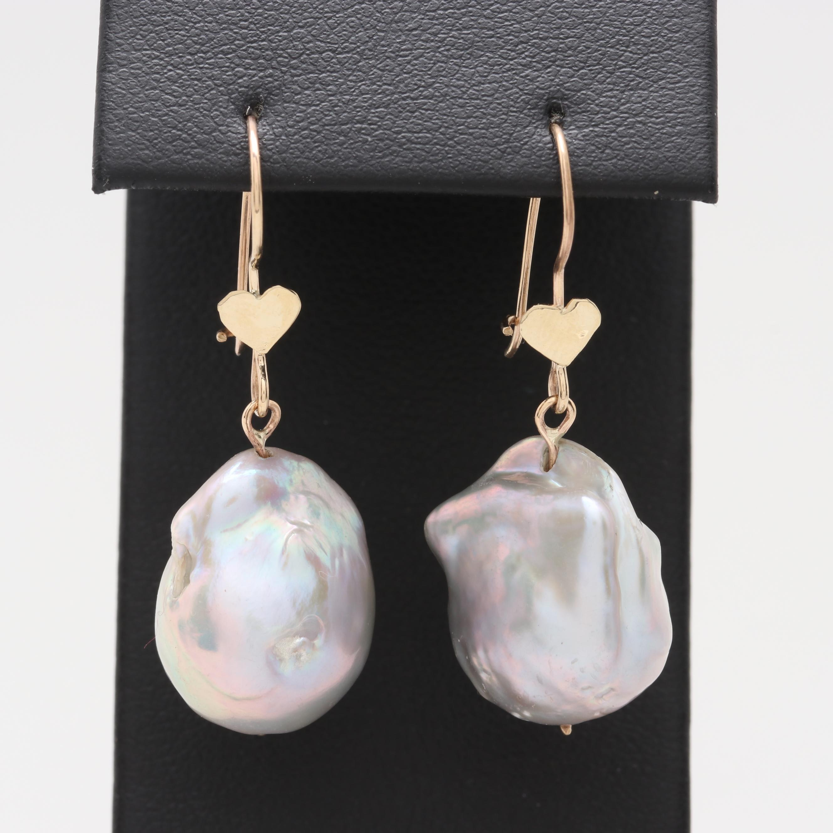 14K Yellow Gold Cultured Pearl Heart Motif Earrings