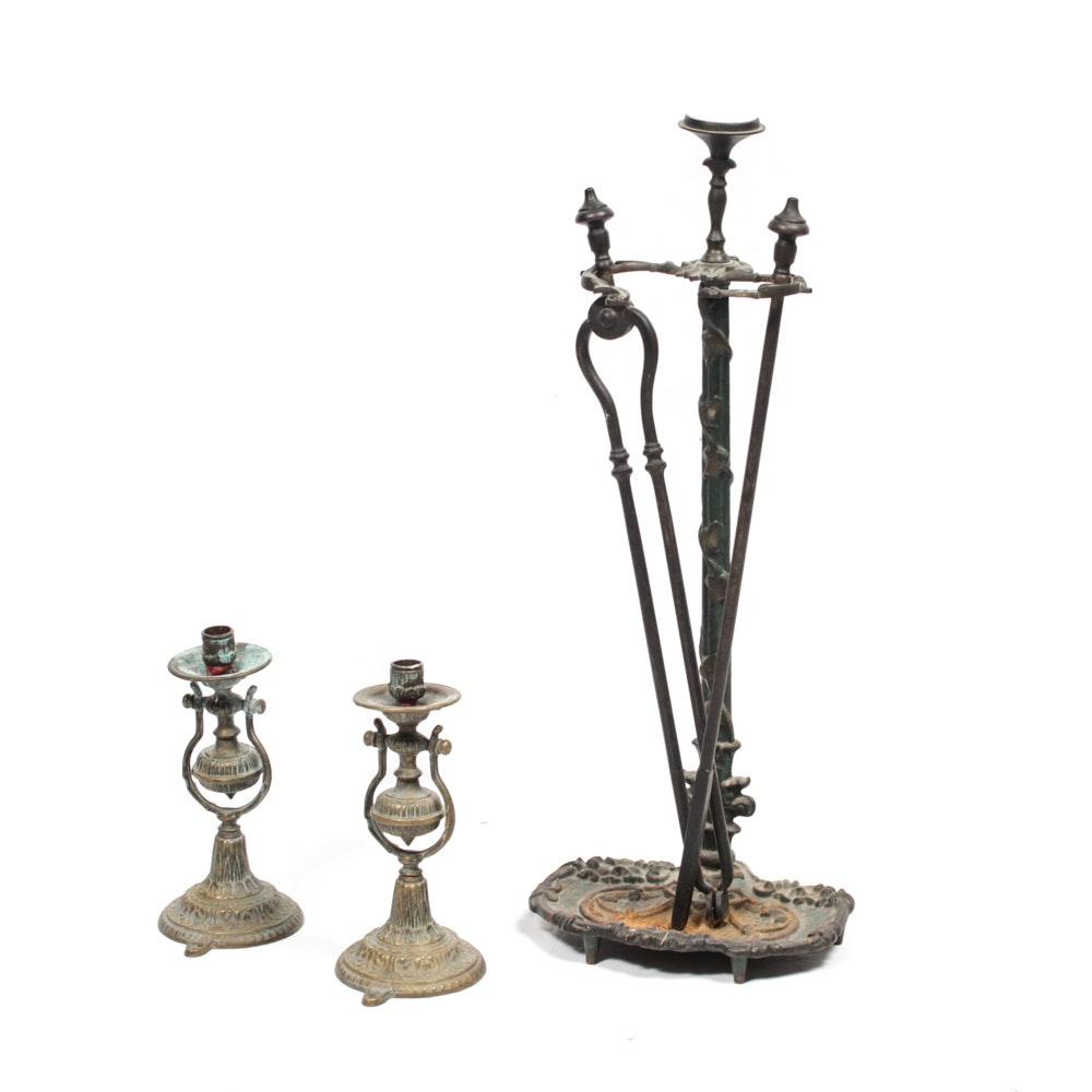 Victorian Brass Ship's Candlesticks with Cast Iron Fireplace Tool Set
