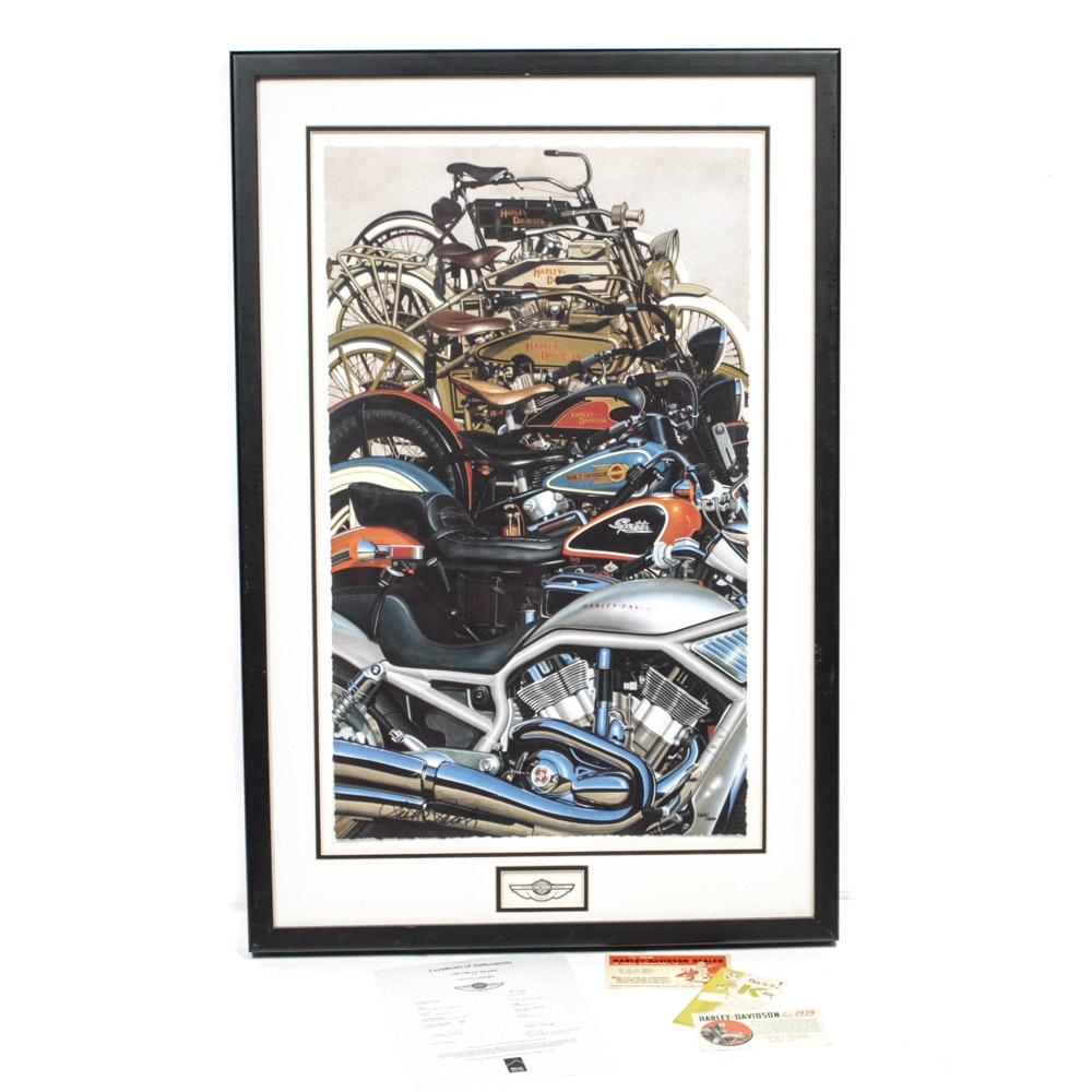 "Limited Edition Harley Davidson ""100 Great Years"" Poster and 1930s Postcards"