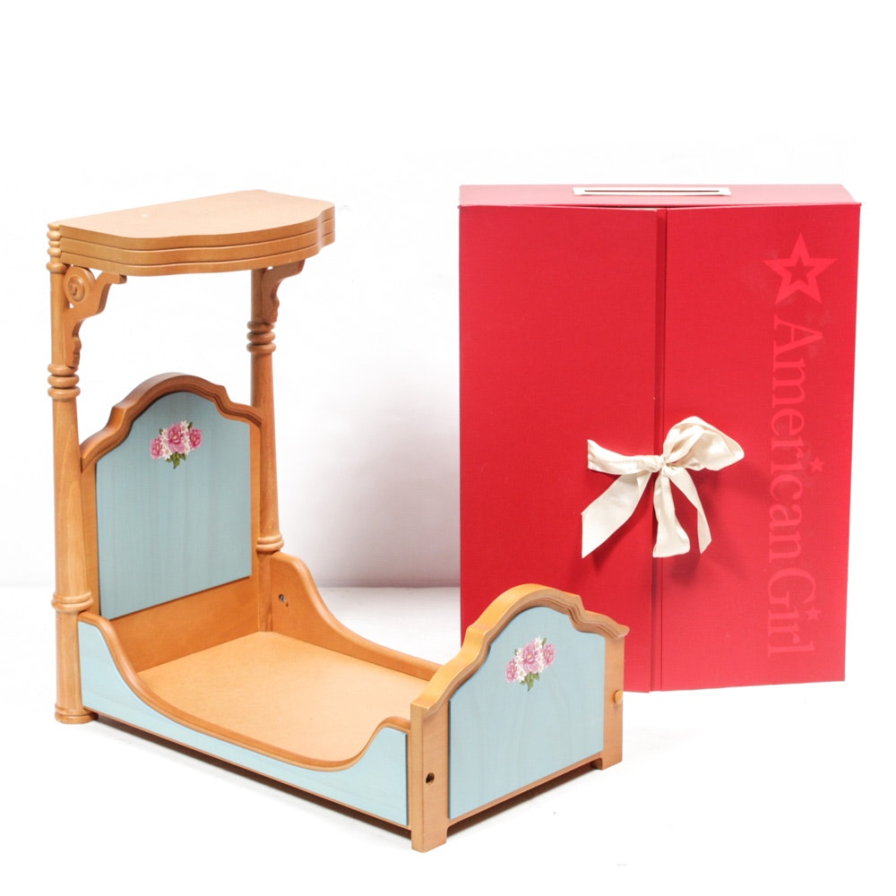 American Girl Doll Wooden Bed and Storage Case