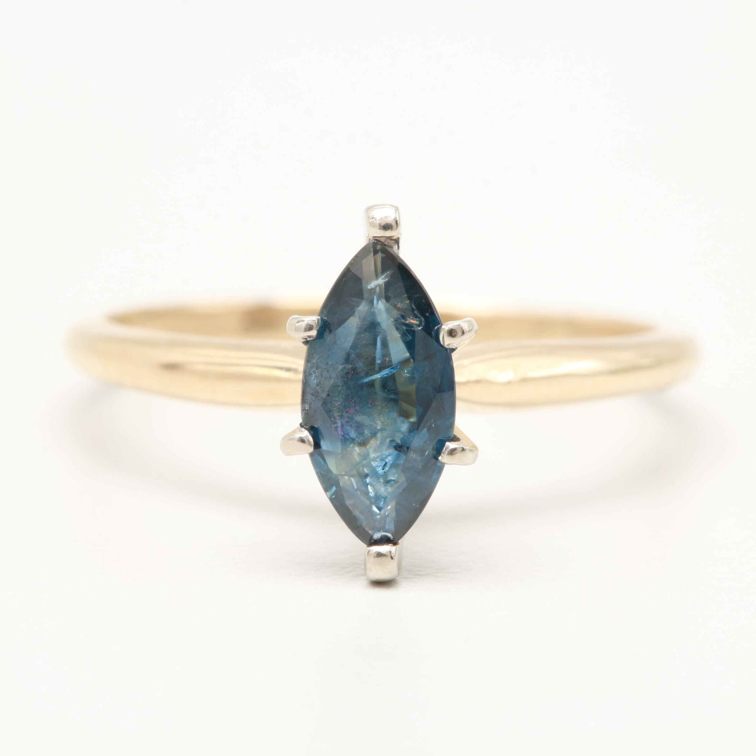 14K Yellow and White Gold Blue Sapphire Ring