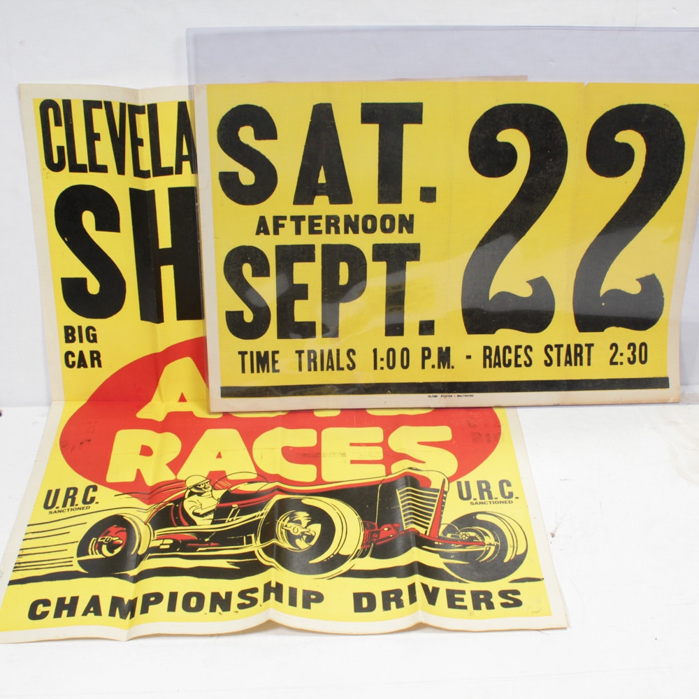 Vintage Stock Car Auto Racing Posters