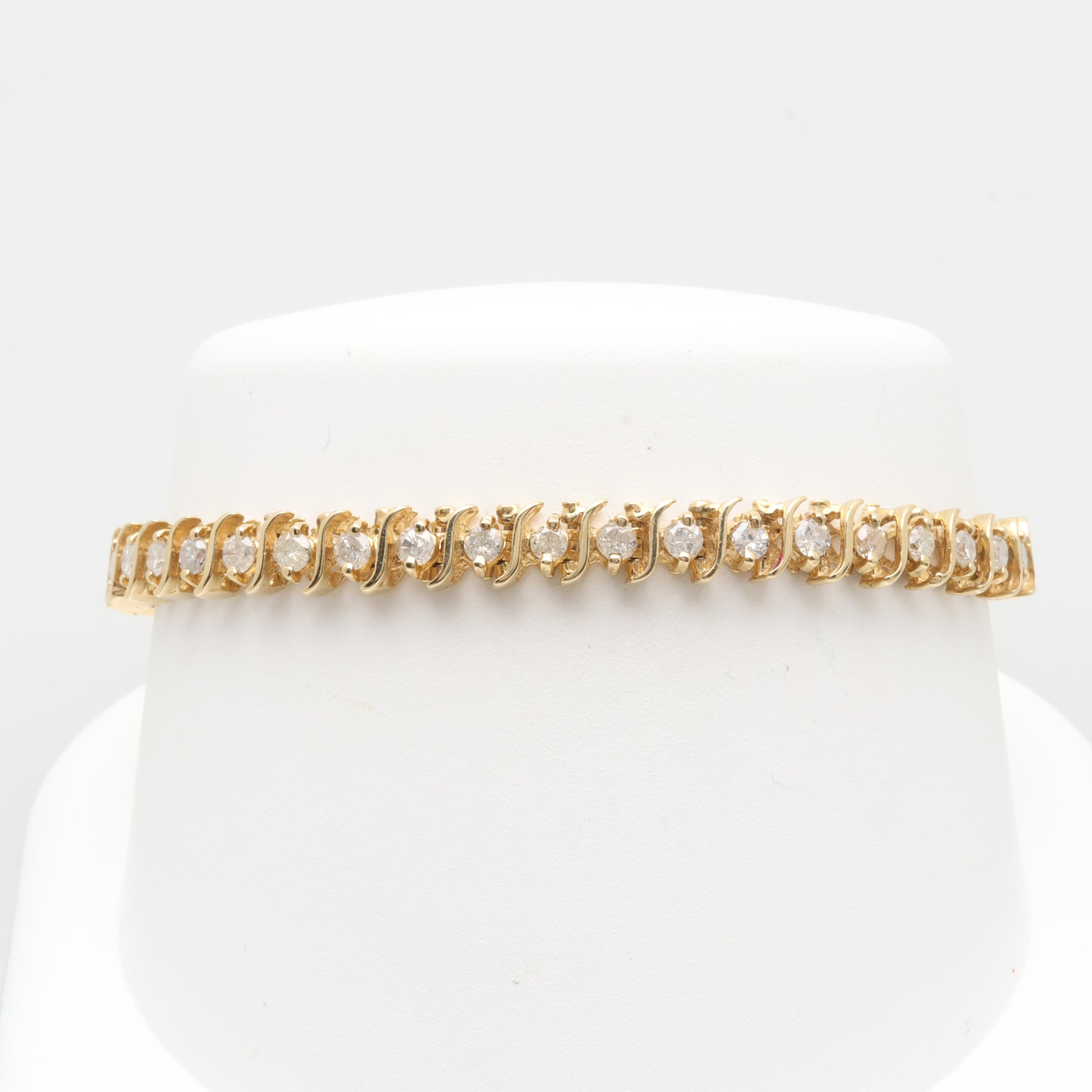 14K Yellow Gold 2.60 CTW Diamond Bracelet