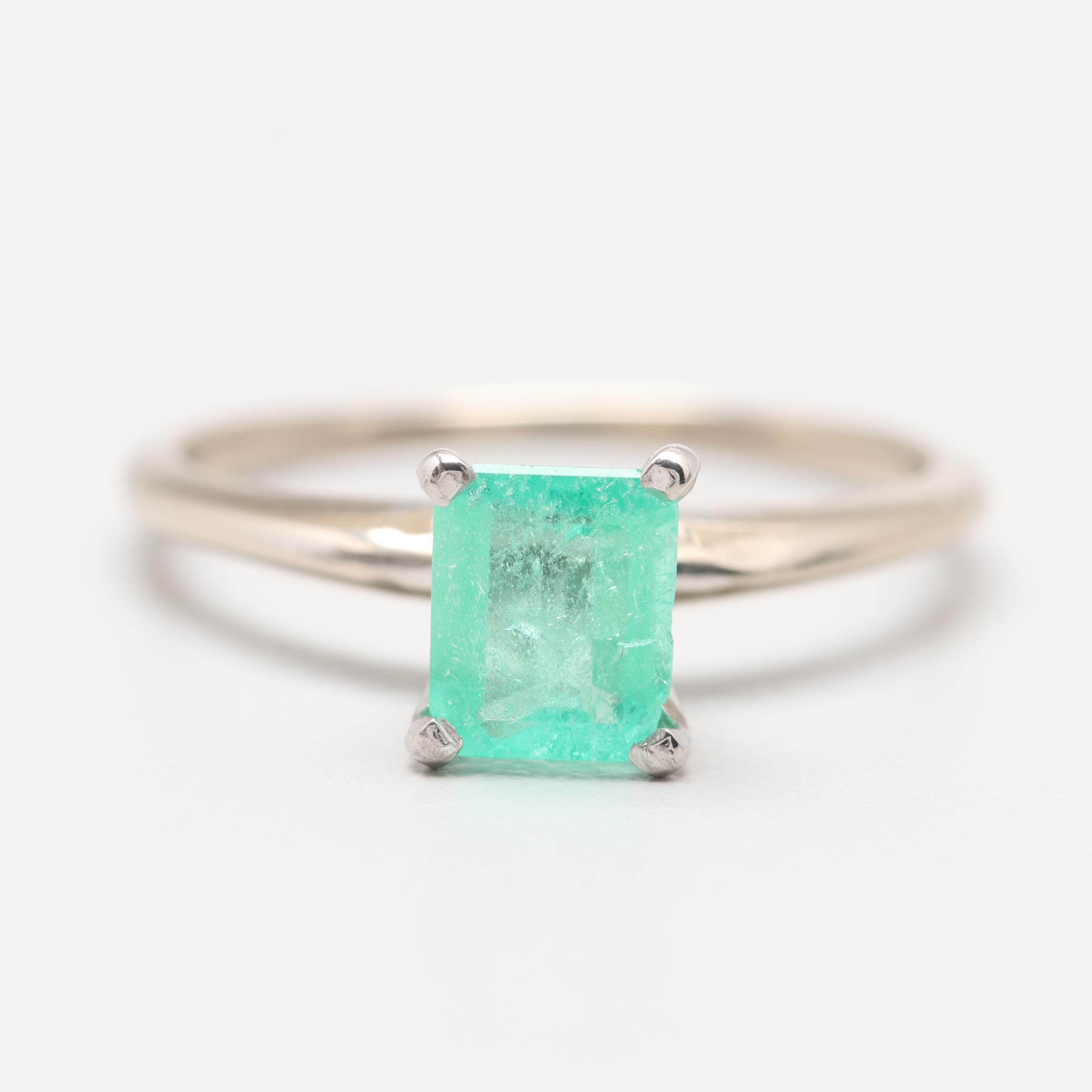 18K White Gold Emerald Ring with Platinum Accent