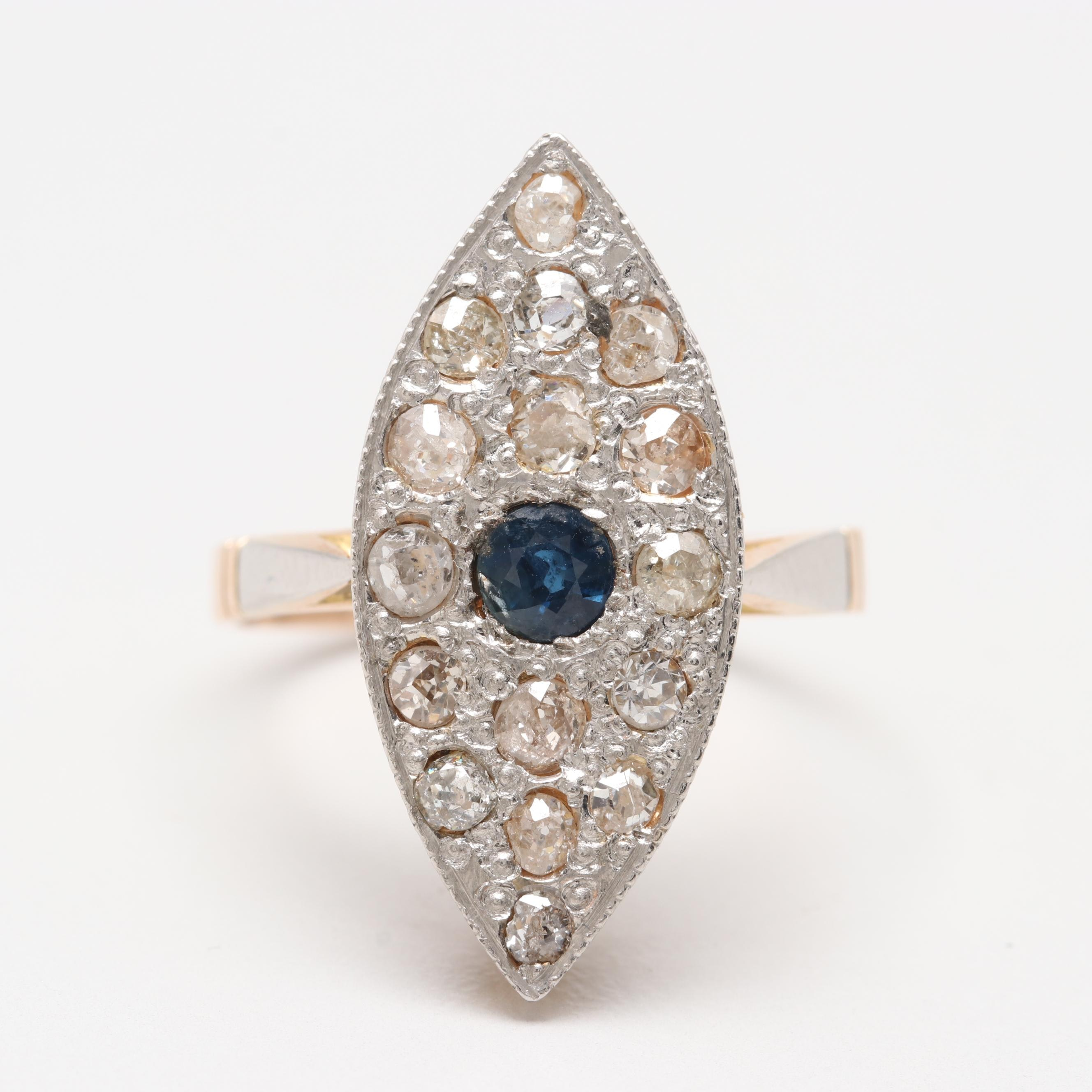 14K Yellow Gold Blue Sapphire and Diamond Ring with Platinum