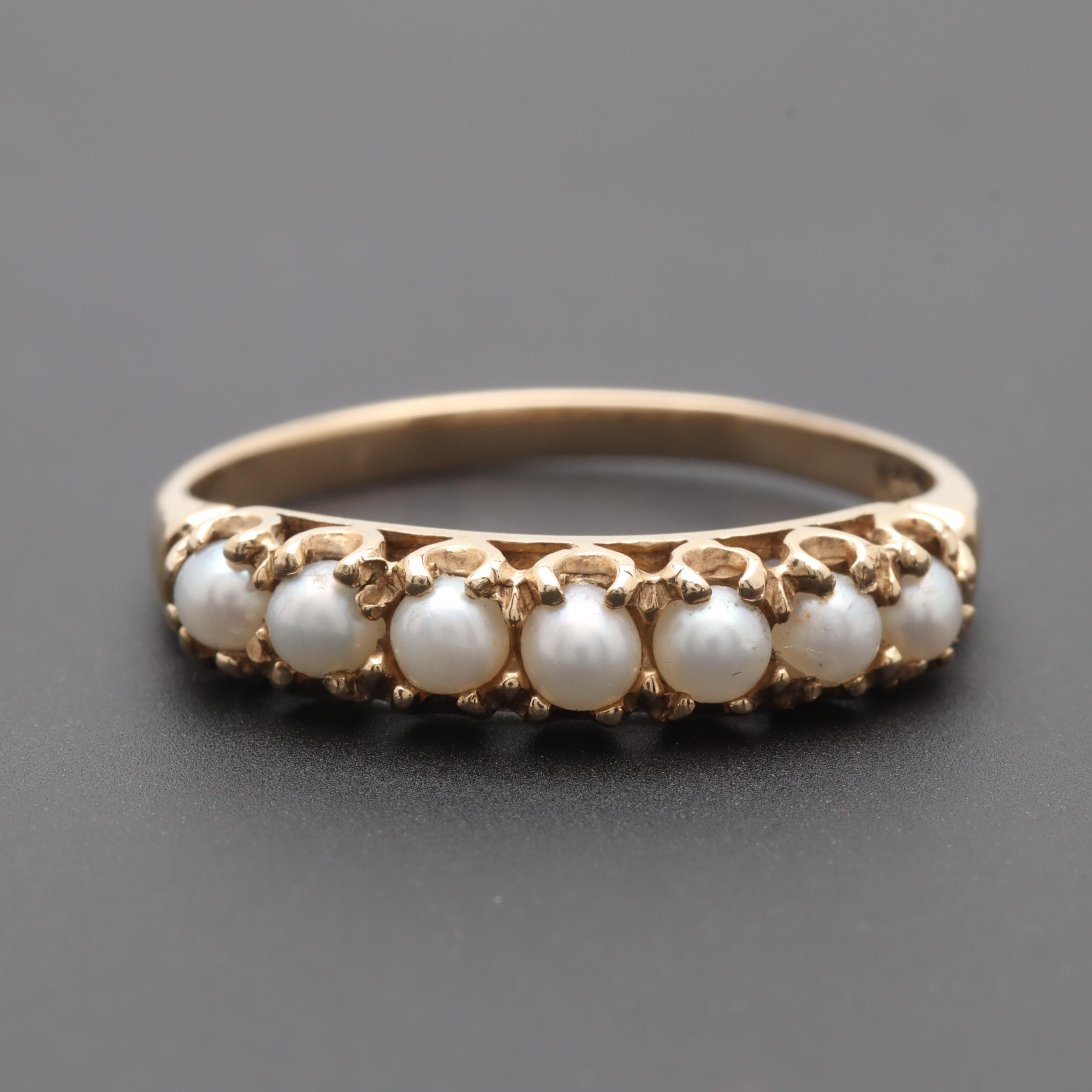Vintage 14K Yellow Gold Cultured Pearl Ring