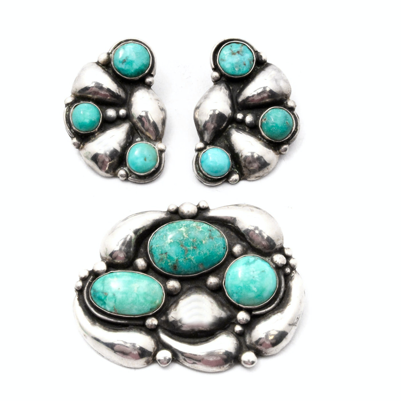 Allen Pooyouma Hopi Sterling Silver Dyed Turquoise Earring and Brooch Set