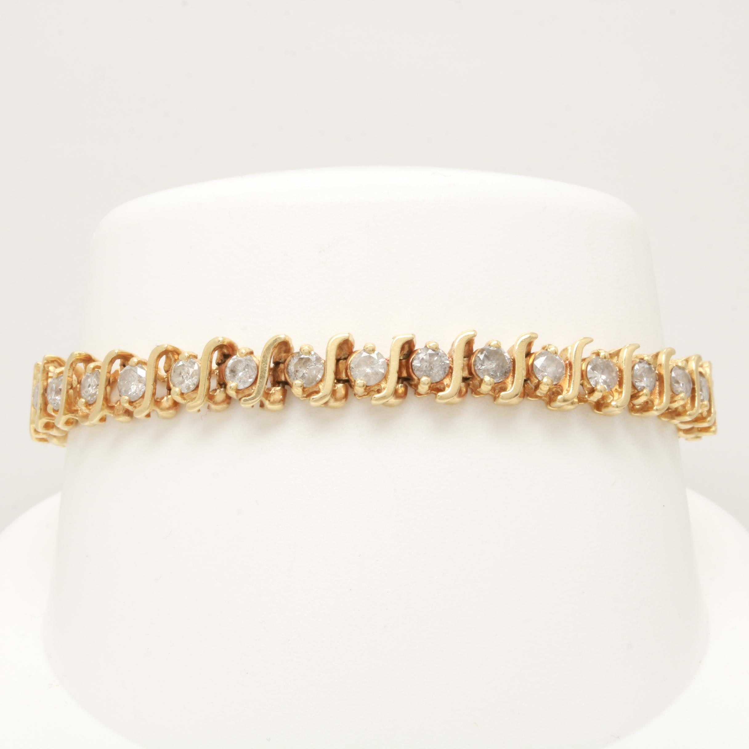 14K Yellow Gold 5.25 CTW Diamond Bracelet