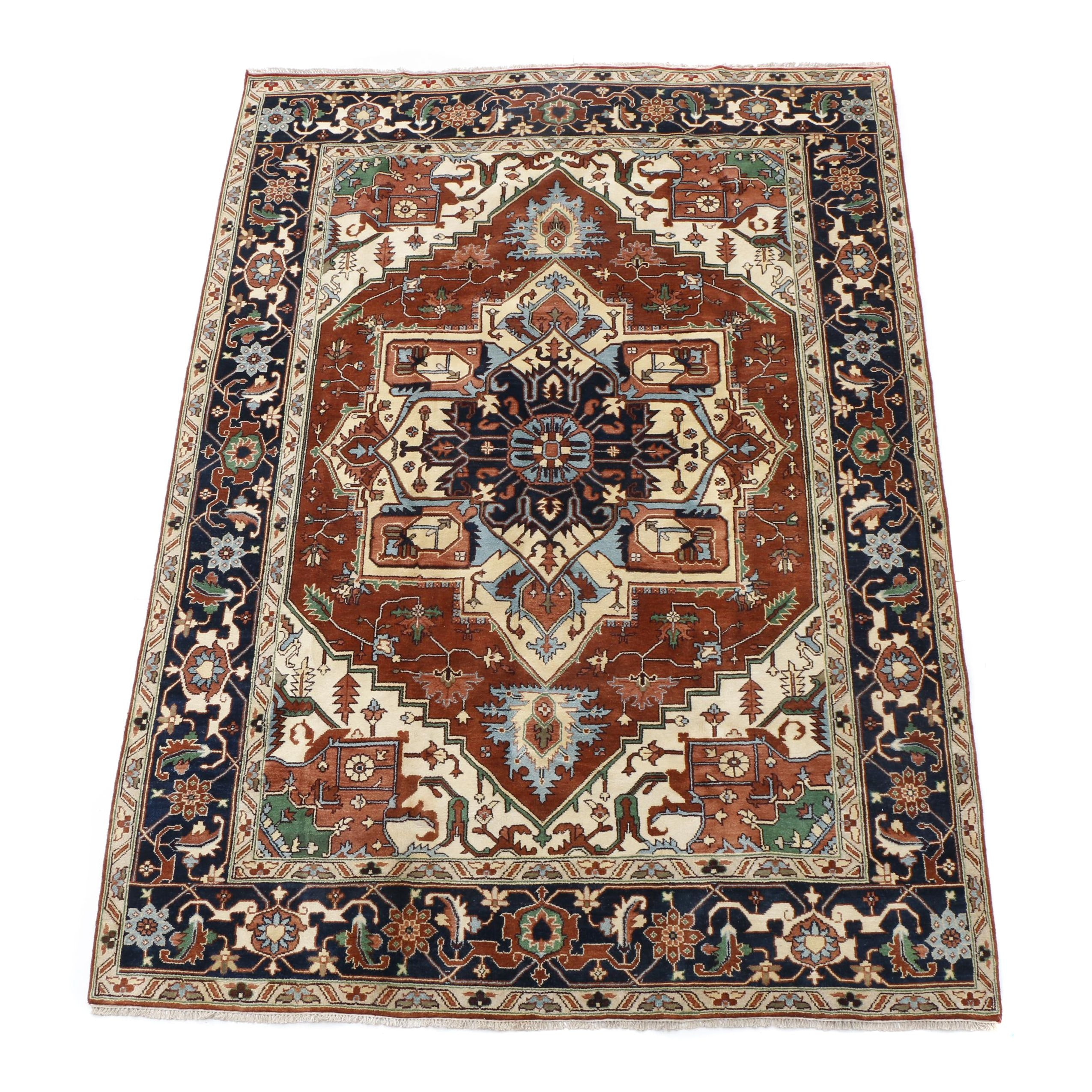 Hand-Knotted Indo-Persian Heriz Area Rug