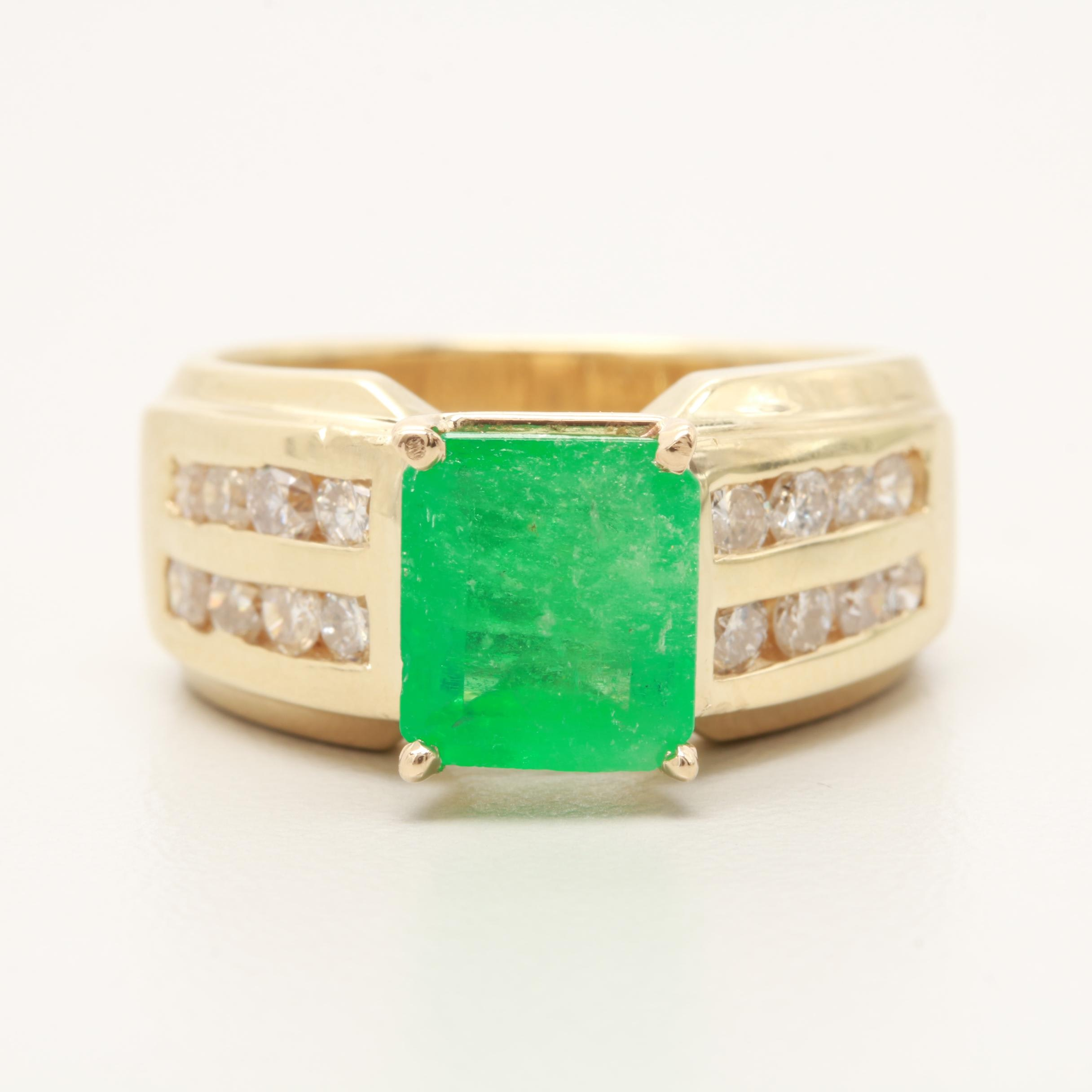 14K Yellow Gold 1.46 CT Emerald and Diamond Ring