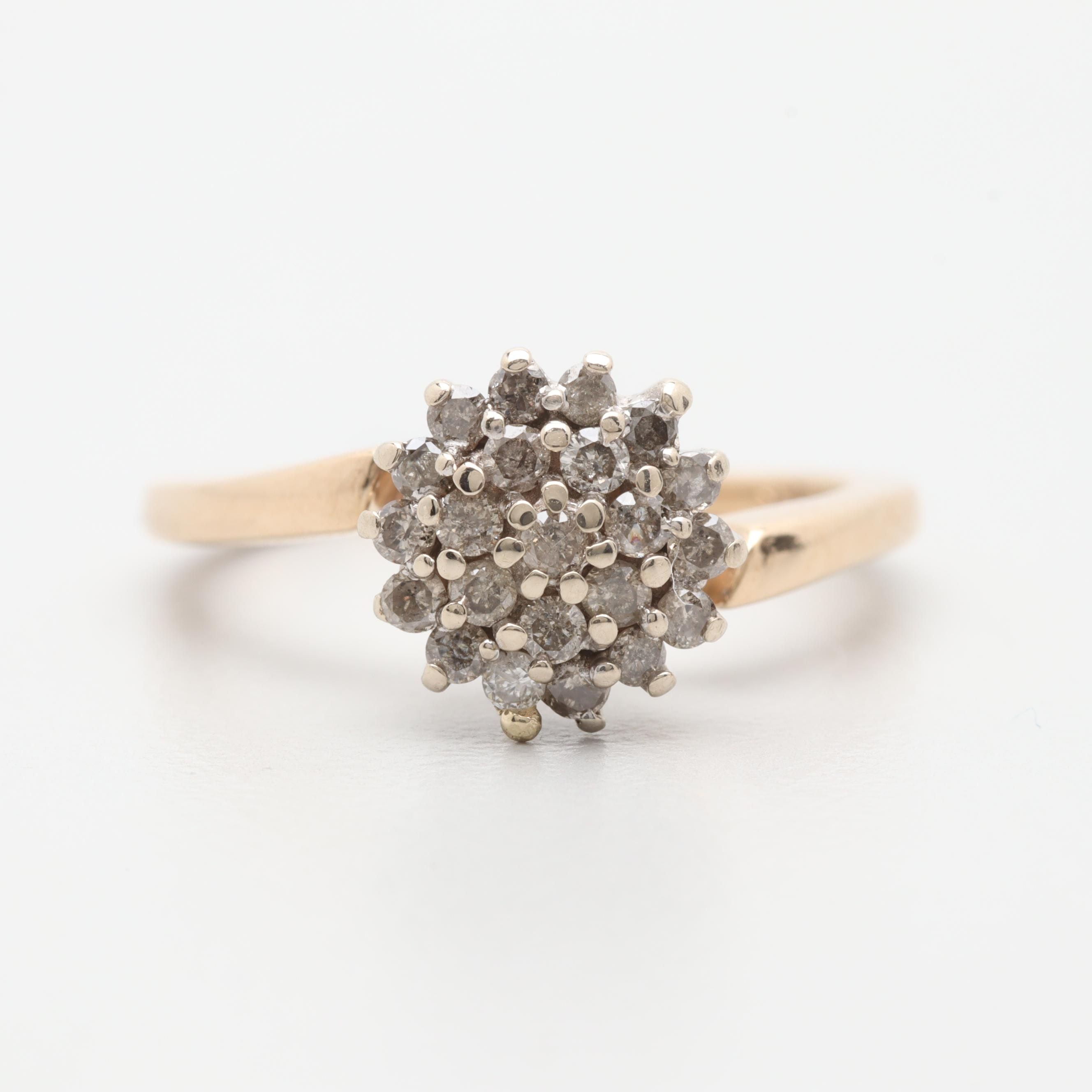 14K Yellow Gold Diamond Crisscross Ring