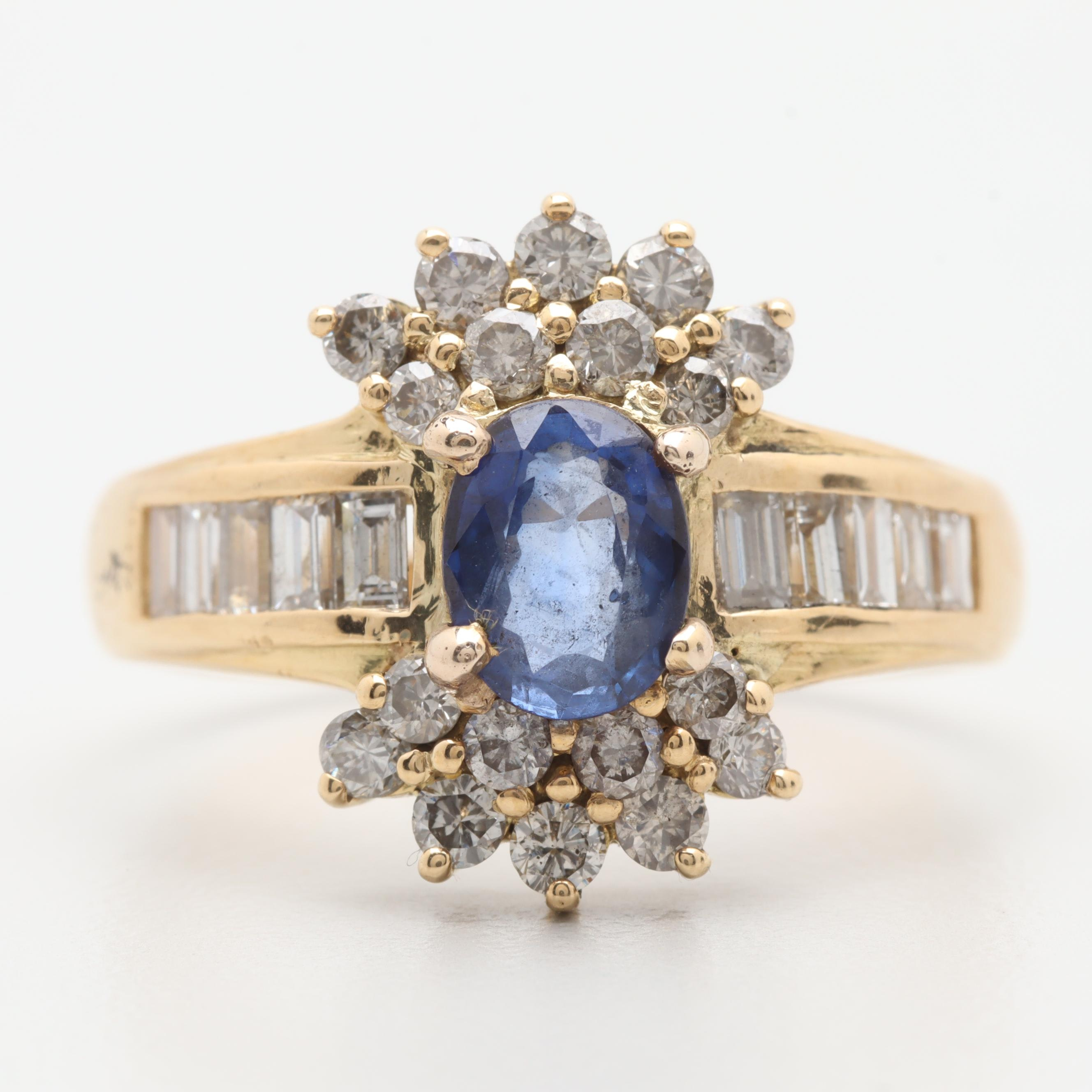 18K Yellow Gold Sapphire and 1.08 CTW Diamond Ring