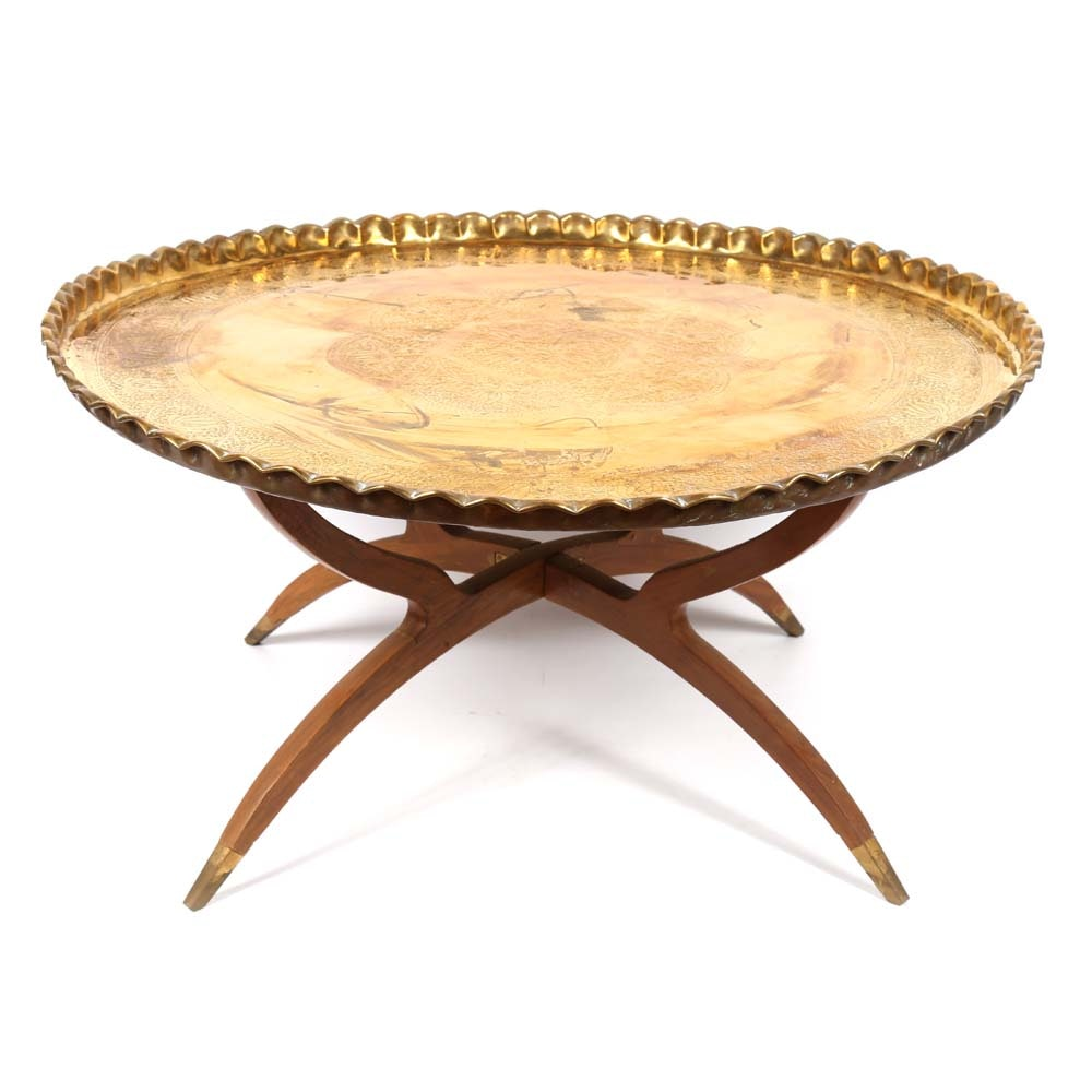 Mid-Century Modern Brass Top Spider Leg Table