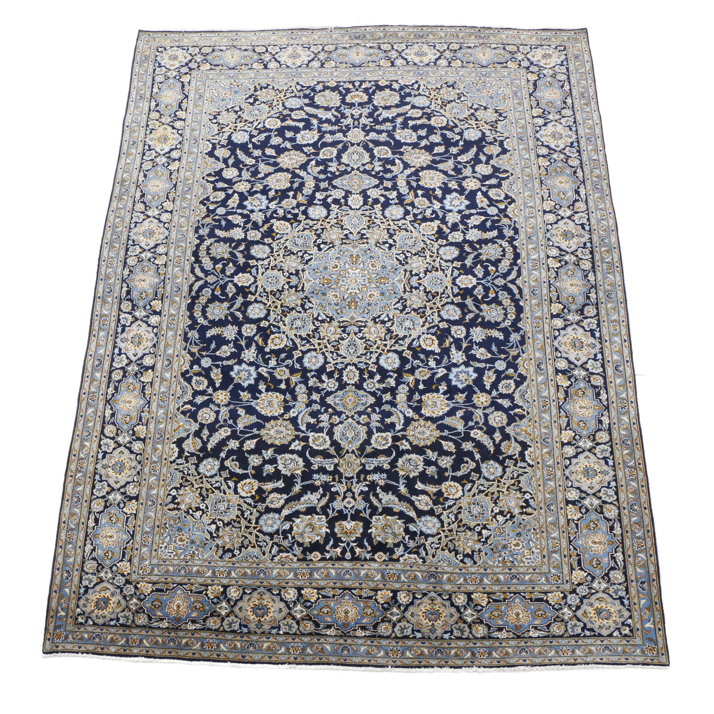 Hand-Knotted Qum Wool Area Rug